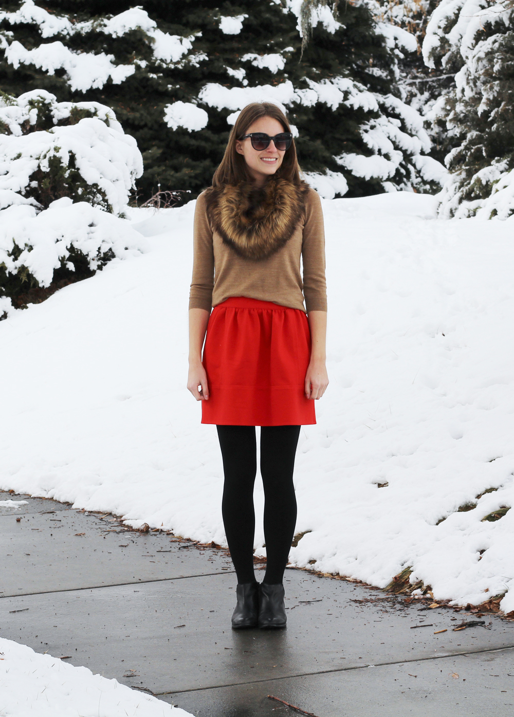 Camel sweater, red mini skirt, black ankle boots, faux fur scarf — Cotton Cashmere Cat Hair