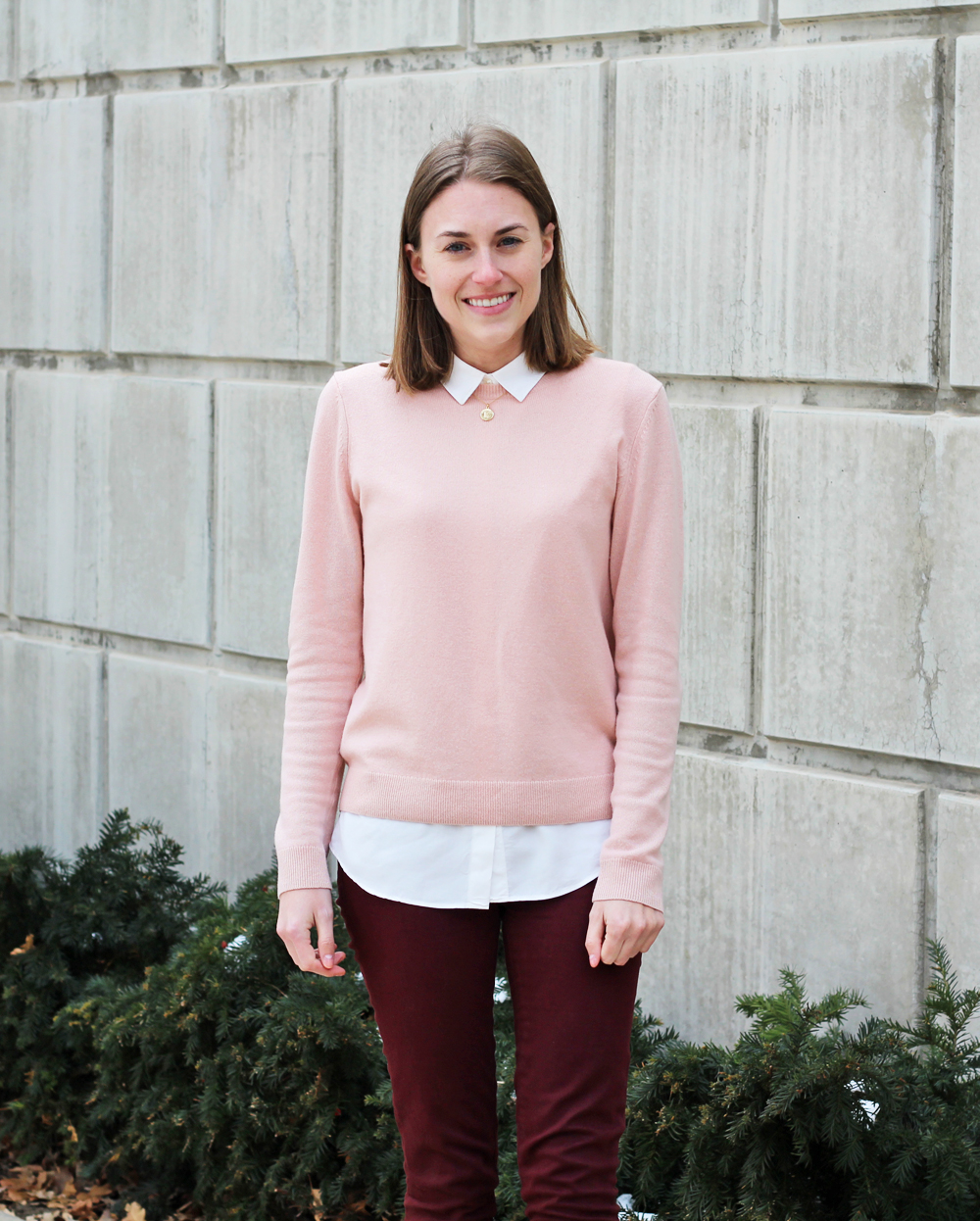 Blush pink sweater + burgundy pants — Cotton Cashmere Cat Hair