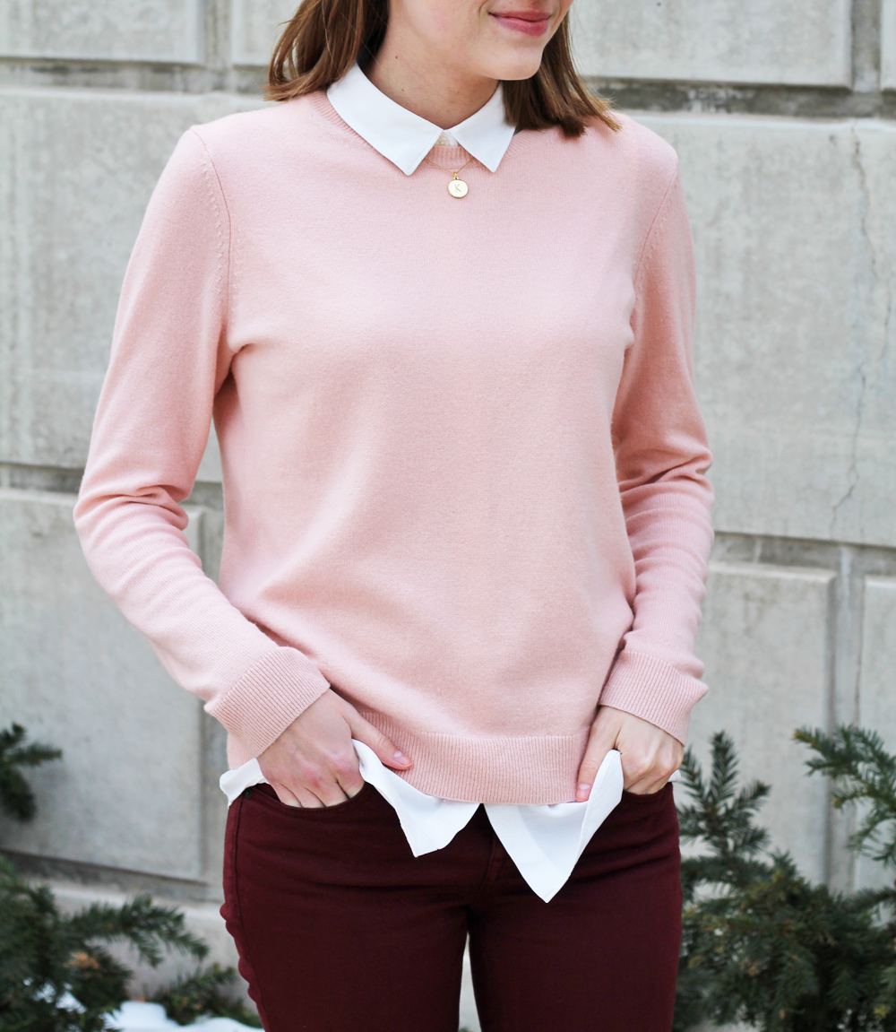 Blush pink cashmere sweater over collared blouse — Cotton Cashmere Cat Hair