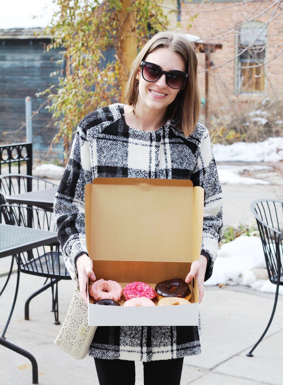 Plaid coat, perforated leather wristlet, big sunglasses — Cotton Cashmere Cat Hair