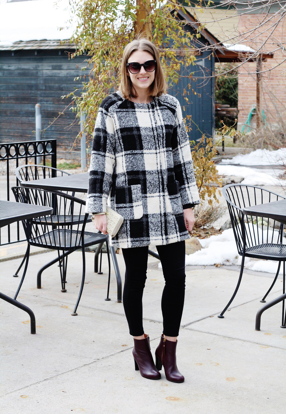 ModCloth plaid coat, J.Crew 'Pixie' pants, red ankle boots — Cotton Cashmere Cat Hair