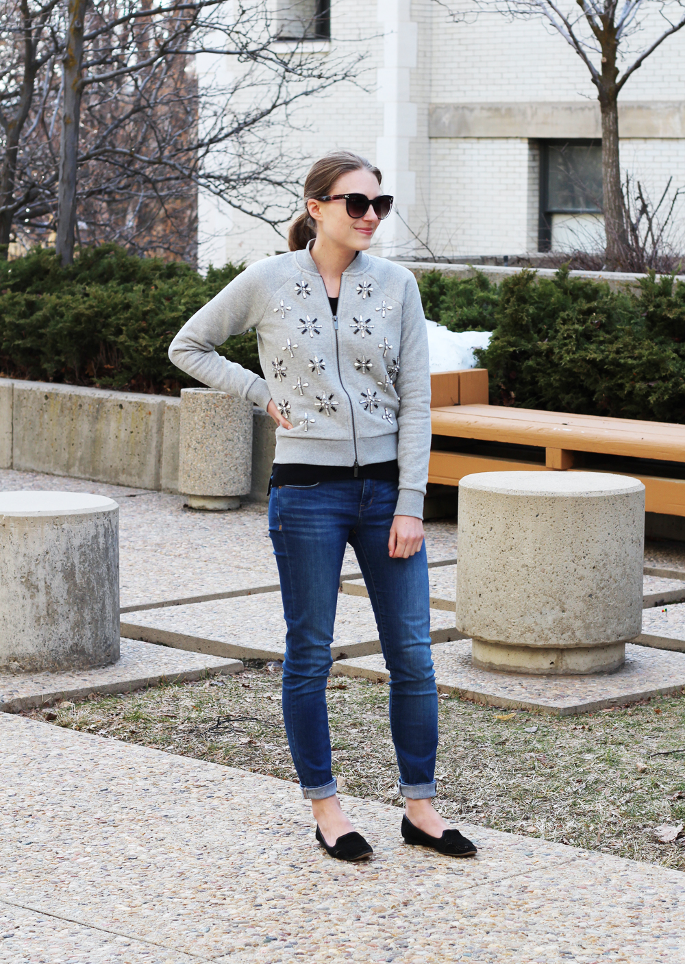 Embellished bomber jacket + cuffed skinny jeans + black loafers ? Cotton Cashmere Cat Hair