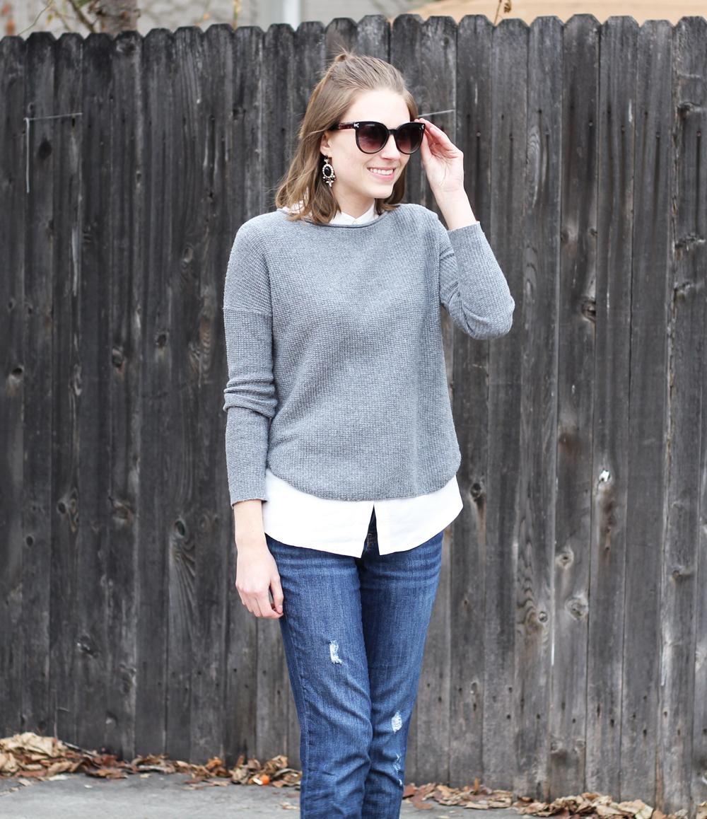 Grey sweater + collared blouse + boyfriend jeans -- Cotton Cashmere Cat Hair