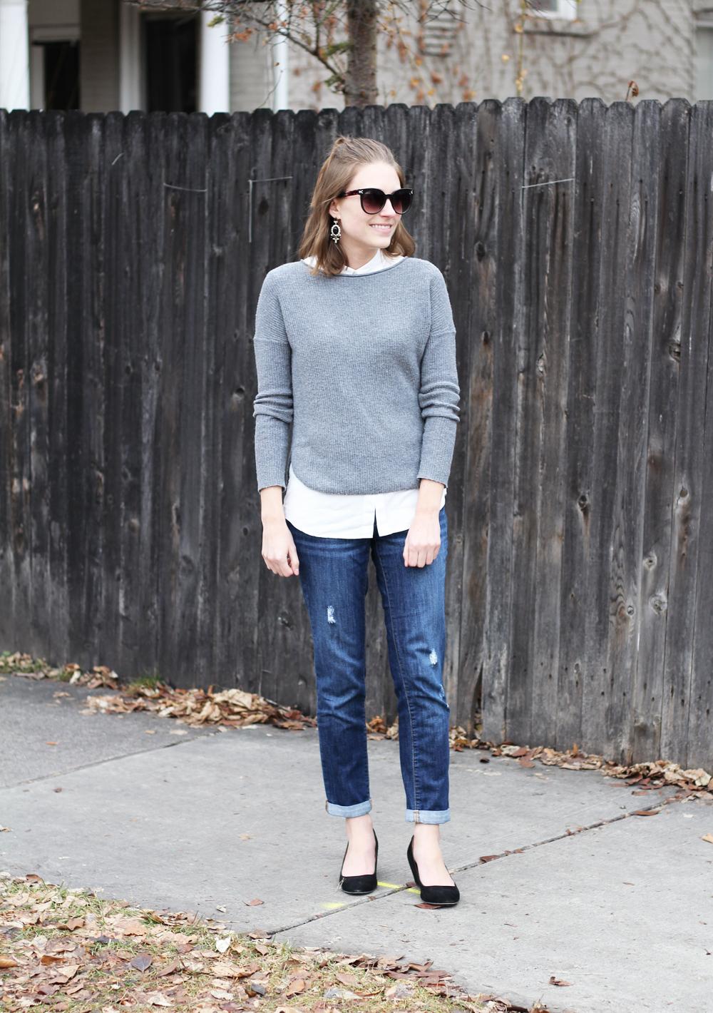 Grey sweater, collared blouse, boyfriend jeans, black wedges -- Cotton Cashmere Cat Hair