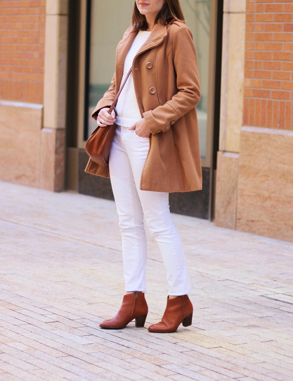Winter whites + camel coat + cognac accessories -- Cotton Cashmere Cat Hair