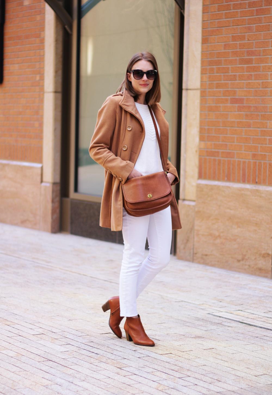Camel coat, ivory sweater, white jeans, cognac boots, Coach bag -- Cotton Cashmere Cat Hair