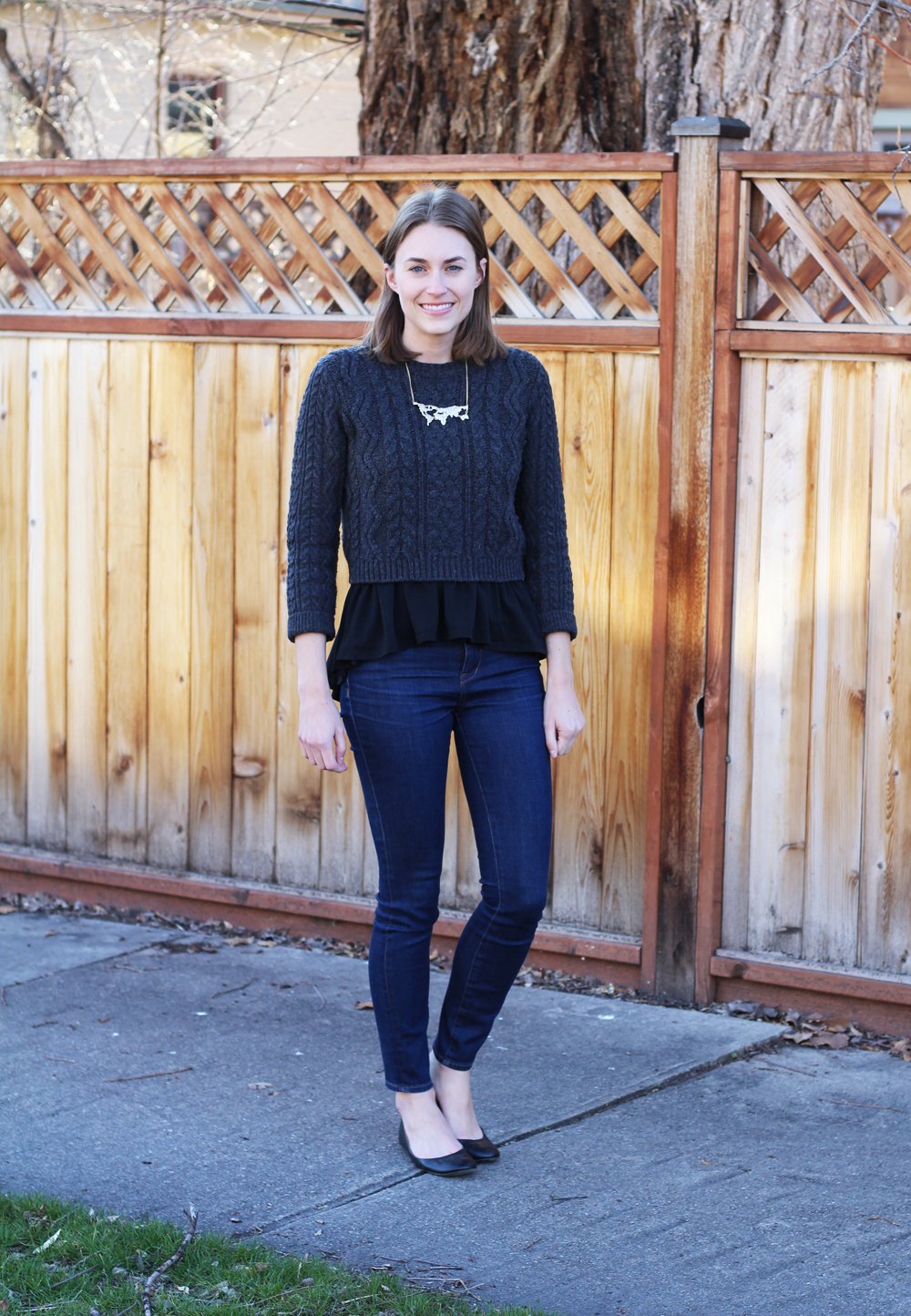 Cropped sweater, peplum top, high-rise jeans, black ballet flats -- Cotton Cashmere Cat Hair