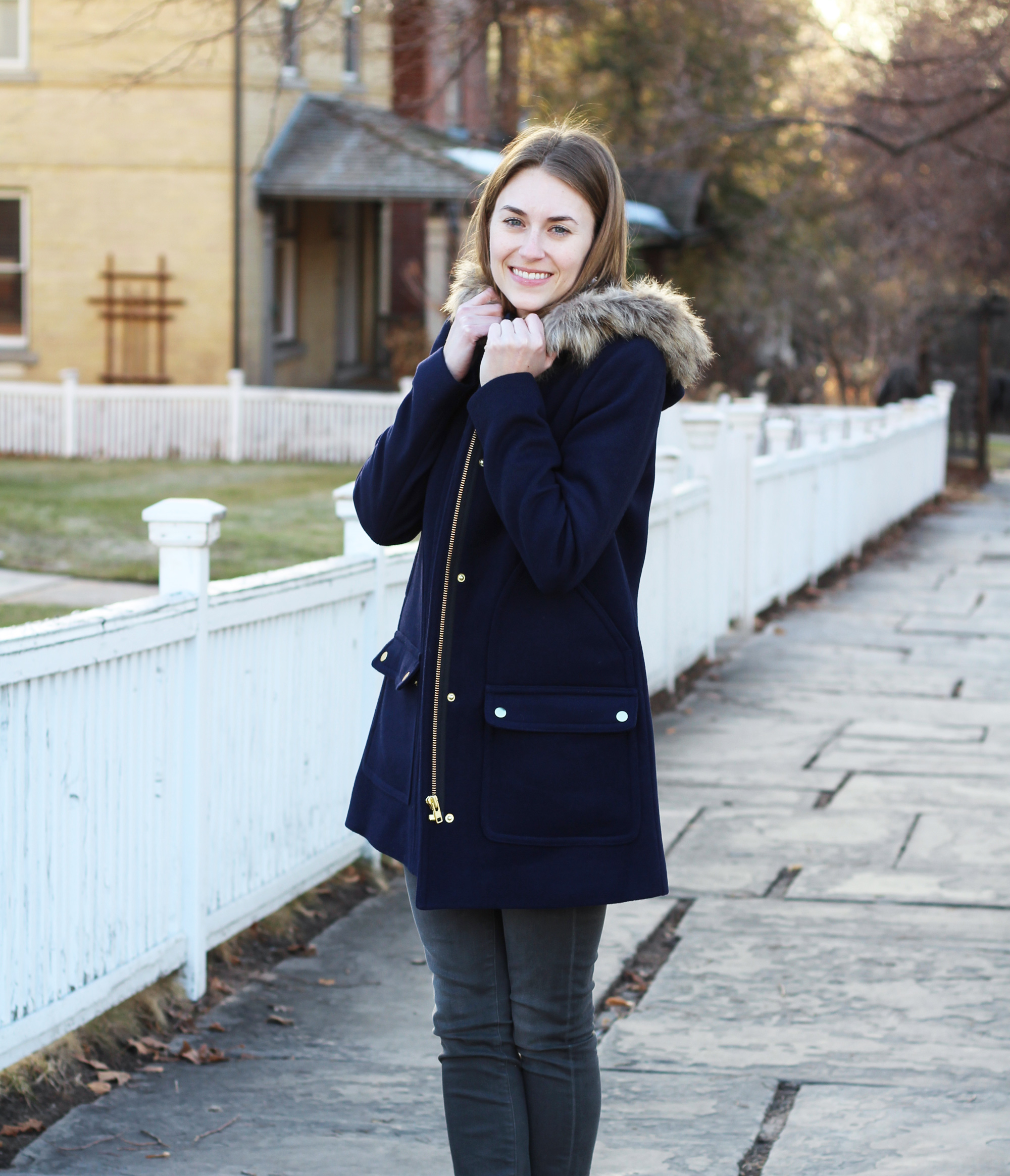 J.Crew Factory 'Vail' parka in navy -- Cotton Cashmere Cat Hair