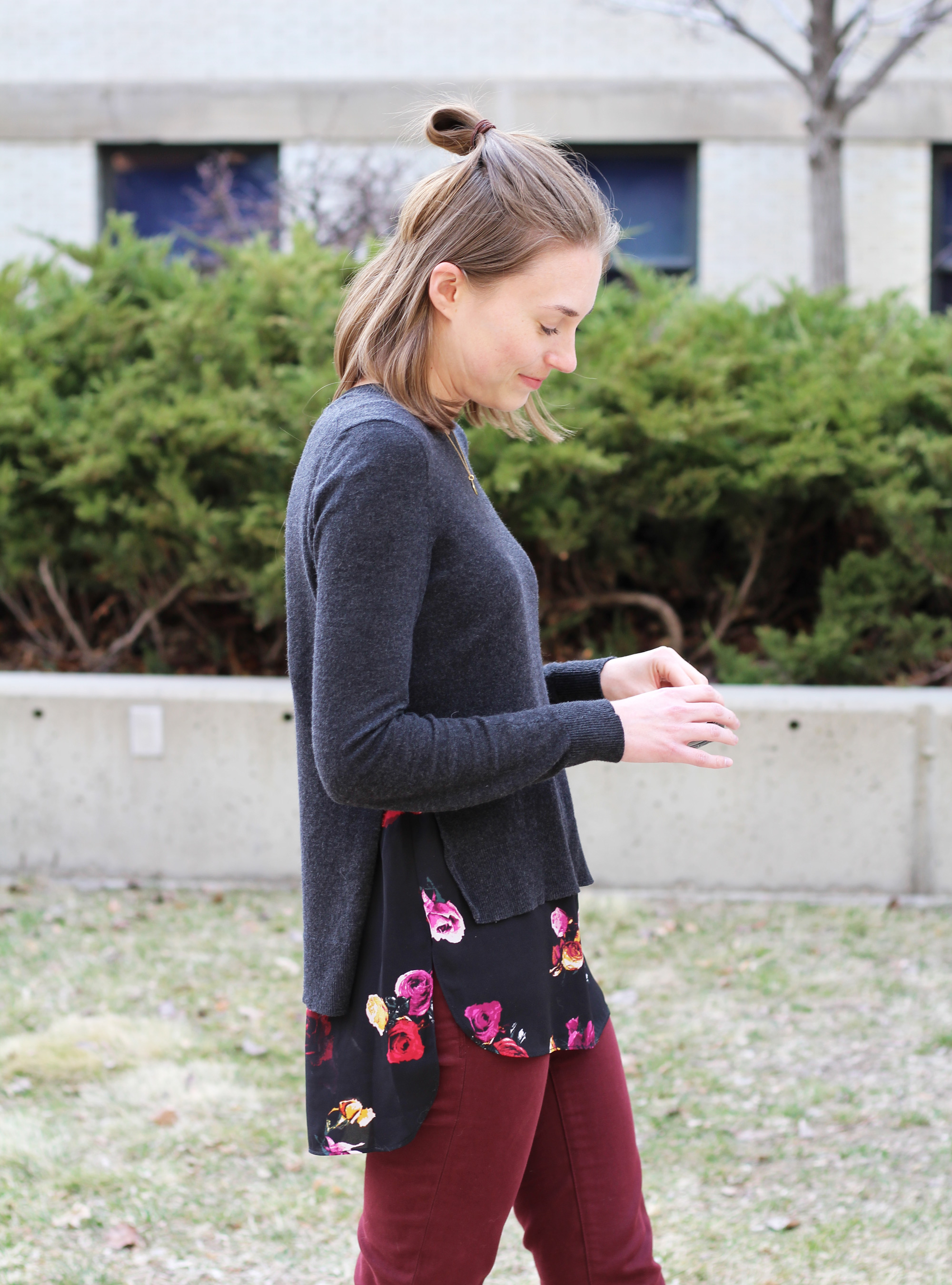 Floral-print layered sweater + burgundy pants -- Cotton Cashmere Cat Hair