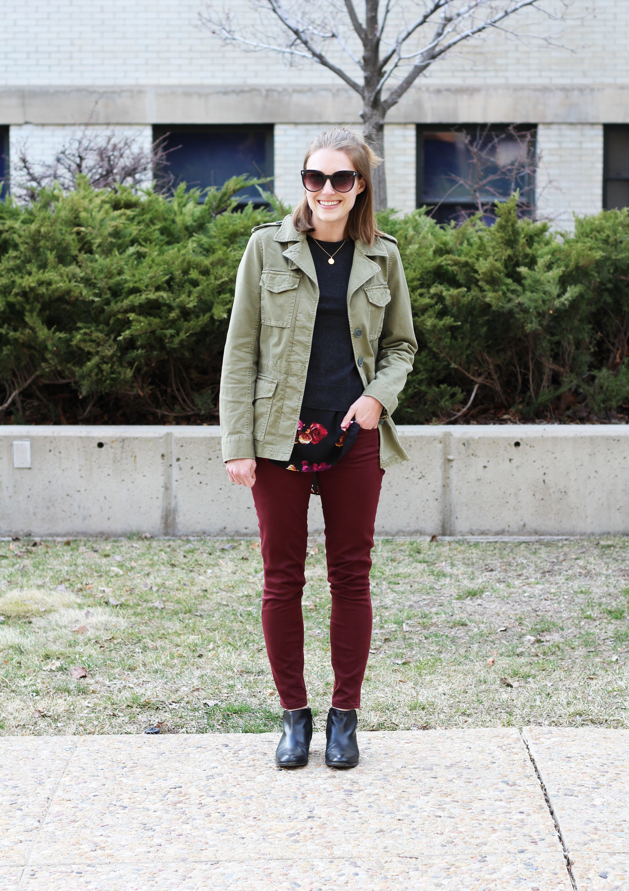 Madewell 'Outbound' jacket, layered sweater, burgundy pants, black ankle boots -- Cotton Cashmere Cat Hair