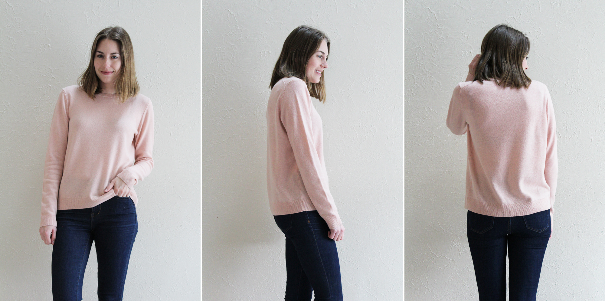 Everlane 'The Cashmere Crew' in blush -- Cotton Cashmere Cat Hair