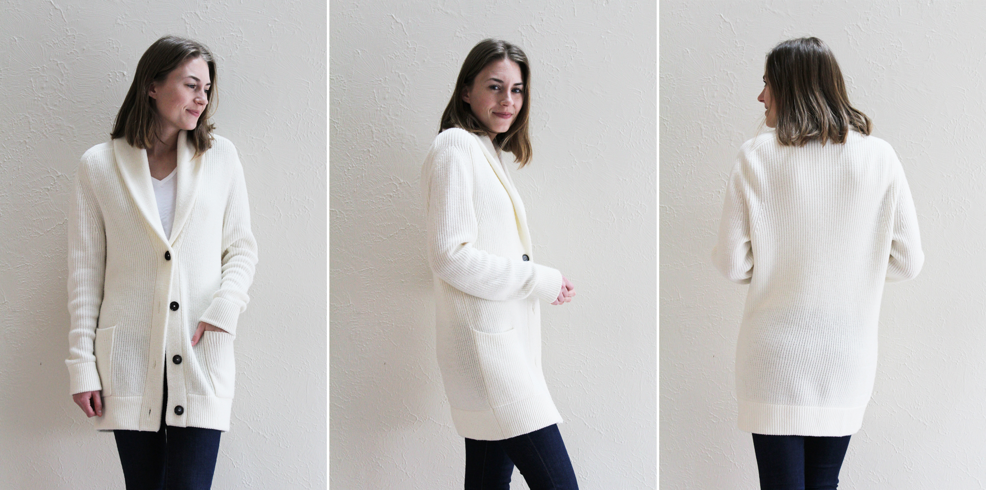 Everlane 'The Chunky Knit Cardigan' in ivory -- Cotton Cashmere Cat Hair