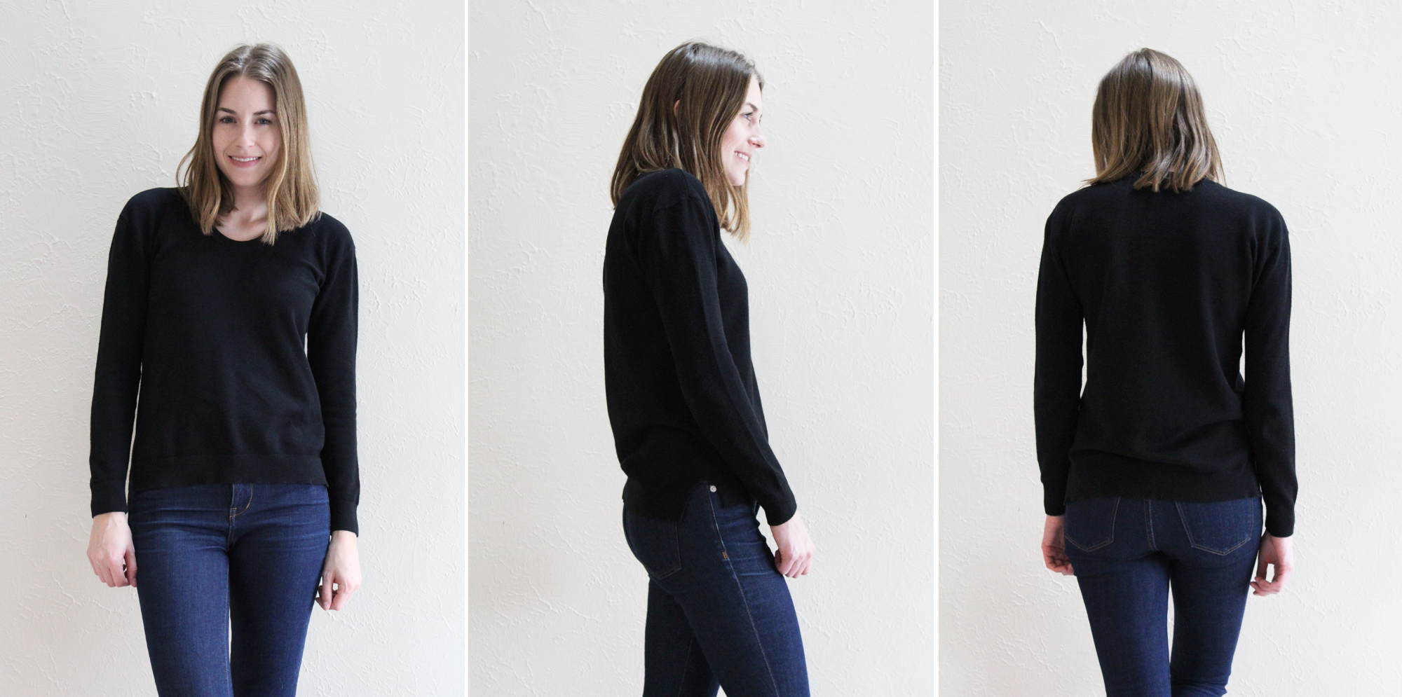 Everlane 'The Original Seed Stitch U-Neck' in black -- Cotton Cashmere Cat Hair