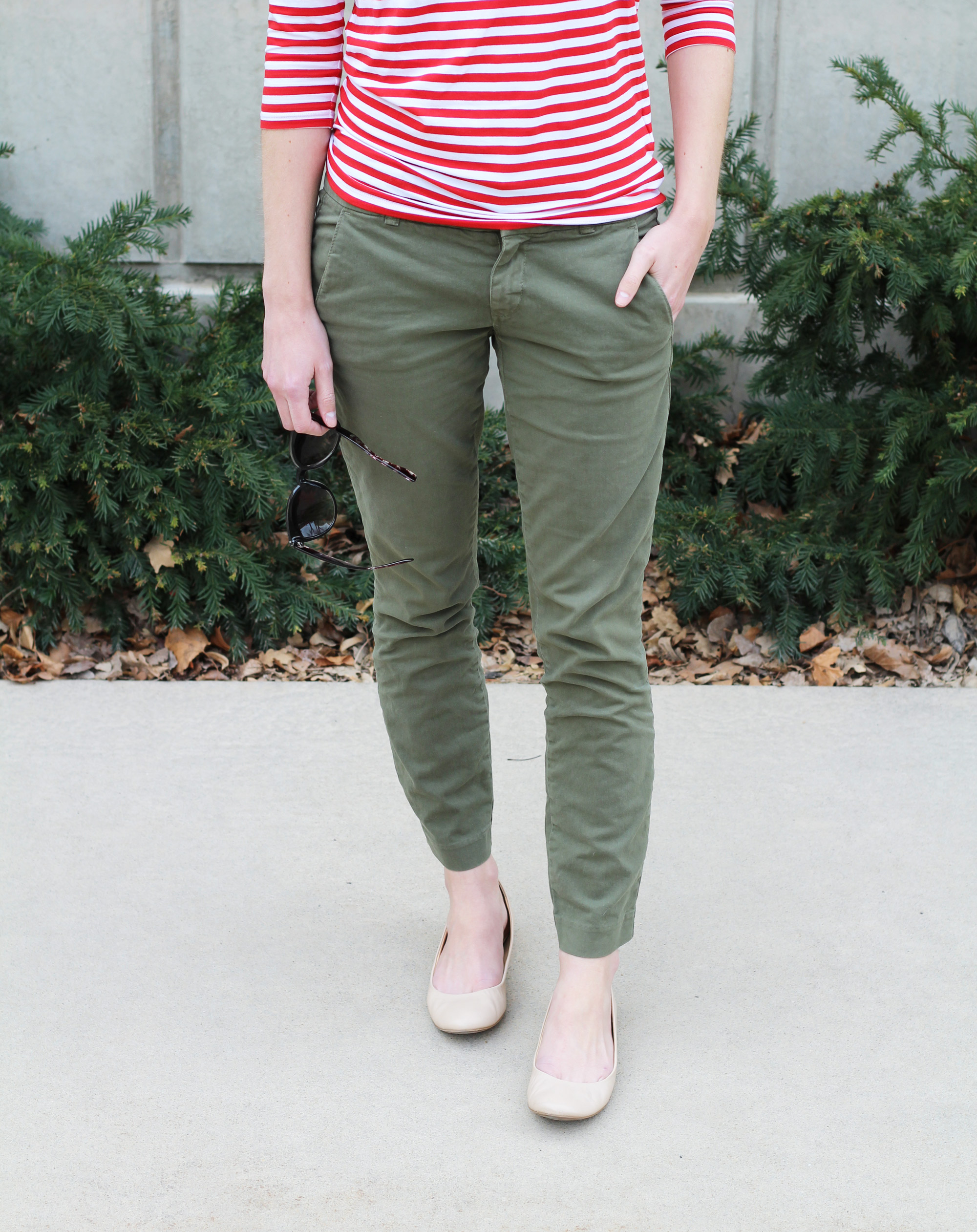 Red striped tee + olive green chino pants + neutral ballet flats -- Cotton Cashmere Cat Hair