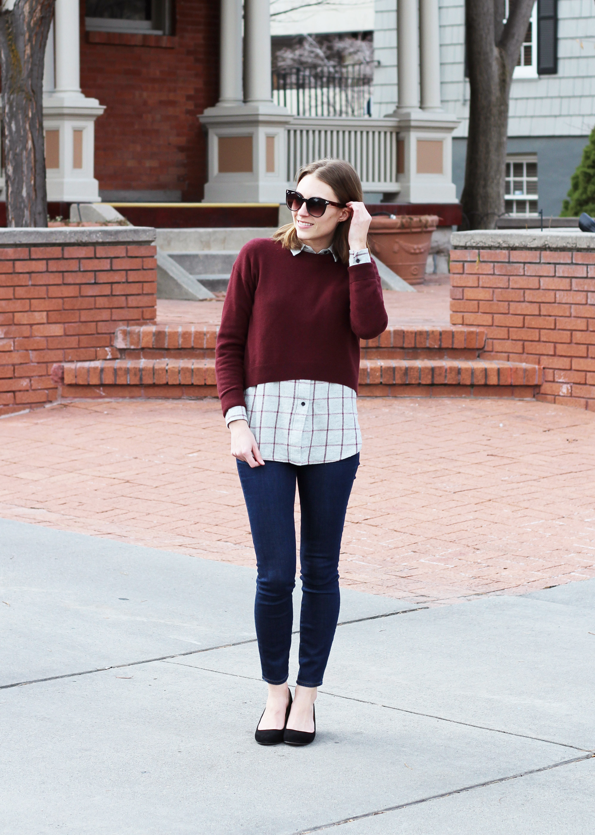 Burgundy cropped sweater, grey flannel shirt, skinny jeans, black wedges -- Cotton Cashmere Cat Hair