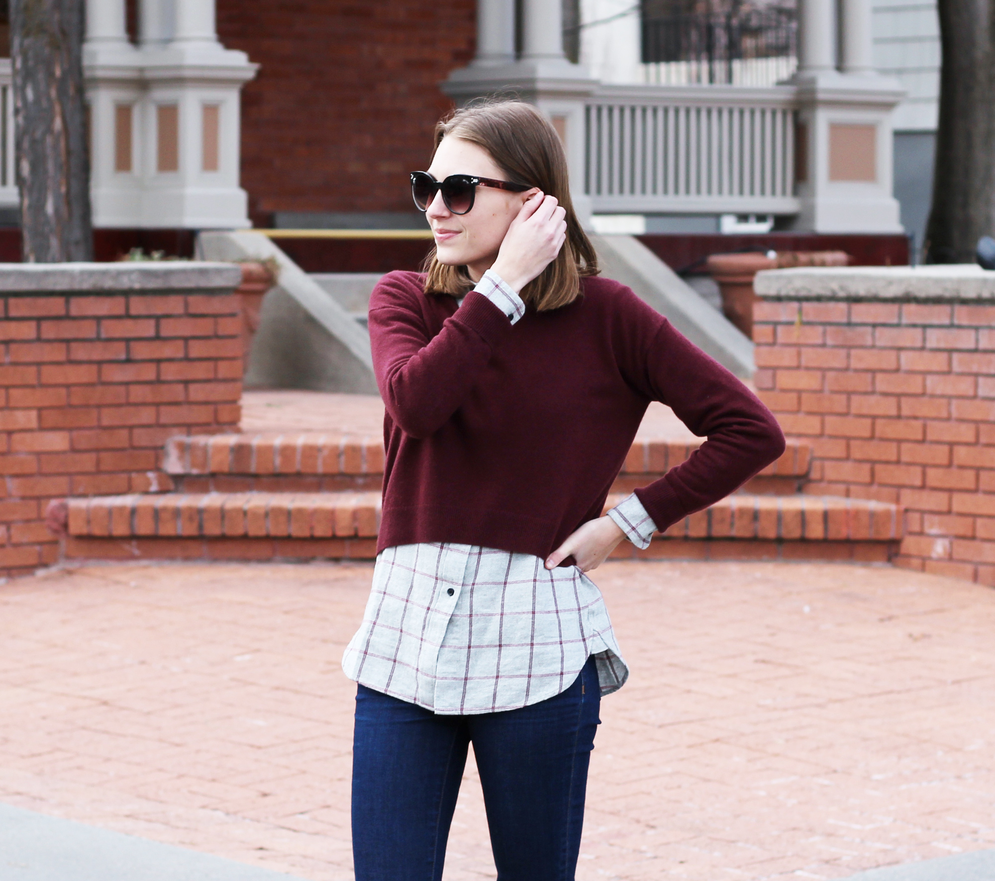 Burgundy cropped sweater + grey flannel shirt + skinny jeans -- Cotton Cashmere Cat Hair