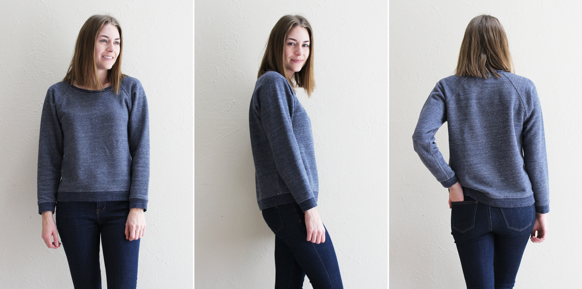 Everlane 'The Crew Sweatshirt' in marled navy — Cotton Cashmere Cat Hair