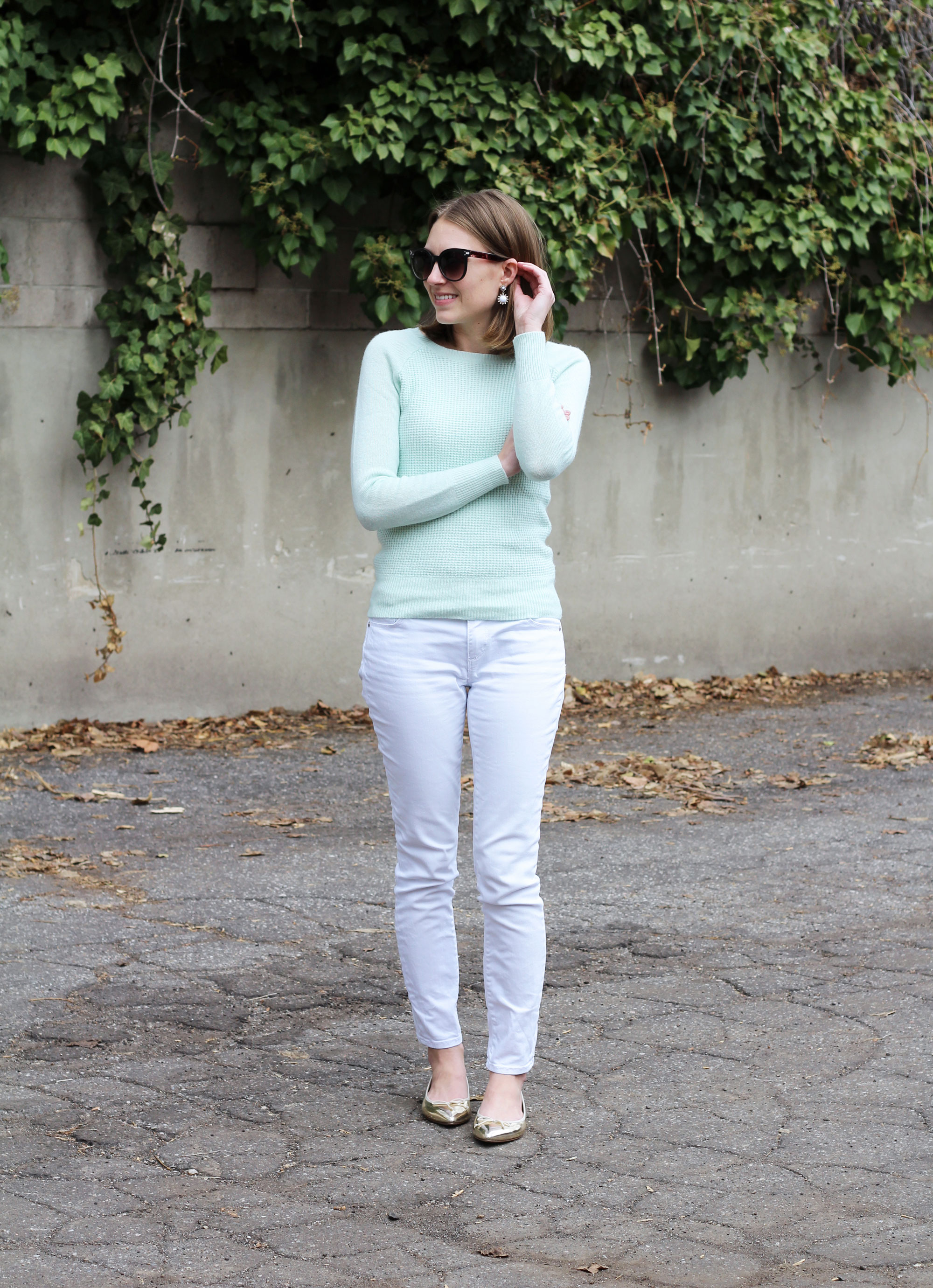 Mint sweater, white skinny jeans, gold J.Crew flats — Cotton Cashmere Cat Hair