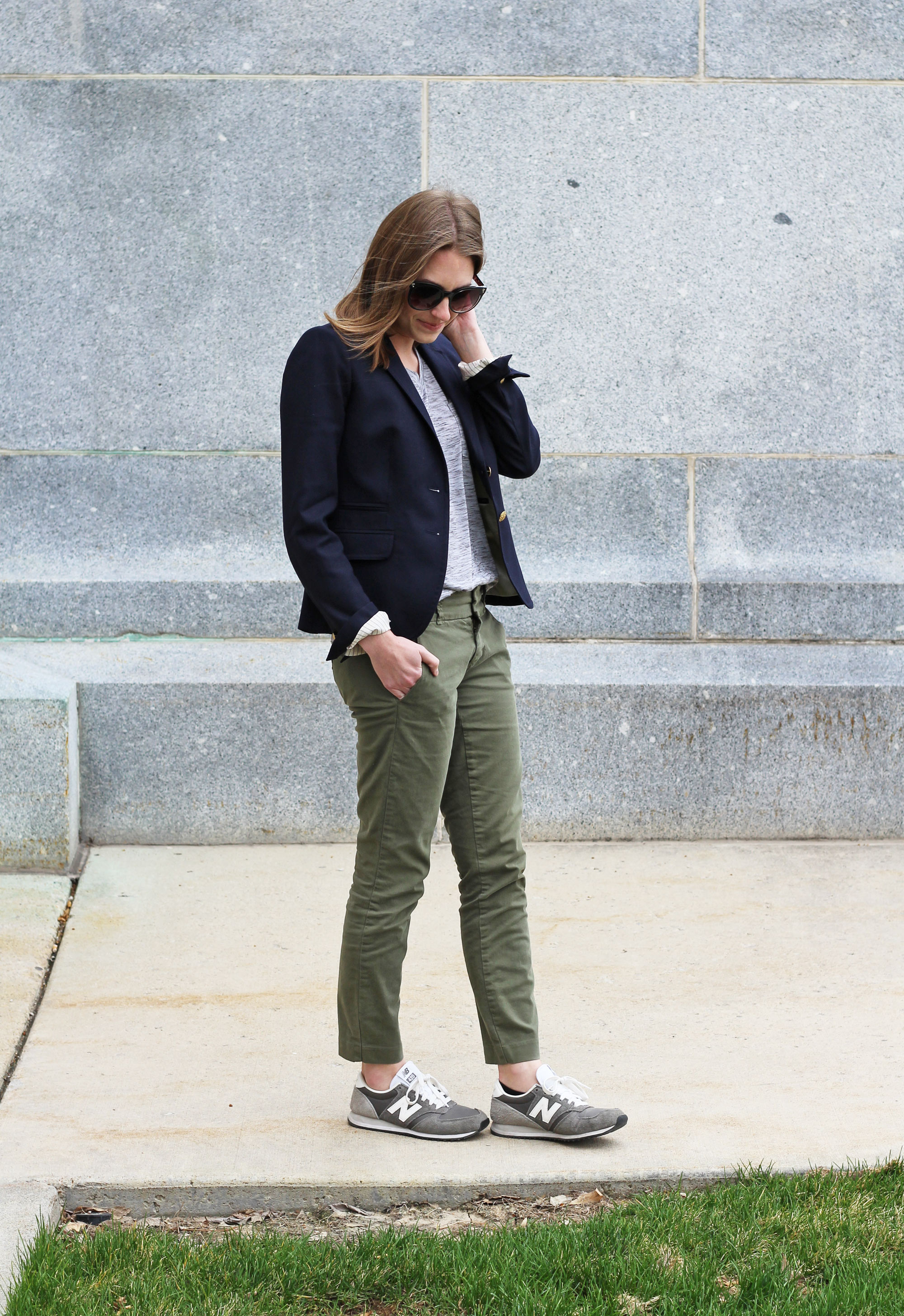 Navy blazer, grey tee, green chinos, grey New Balance sneakers — Cotton Cashmere Cat Hair