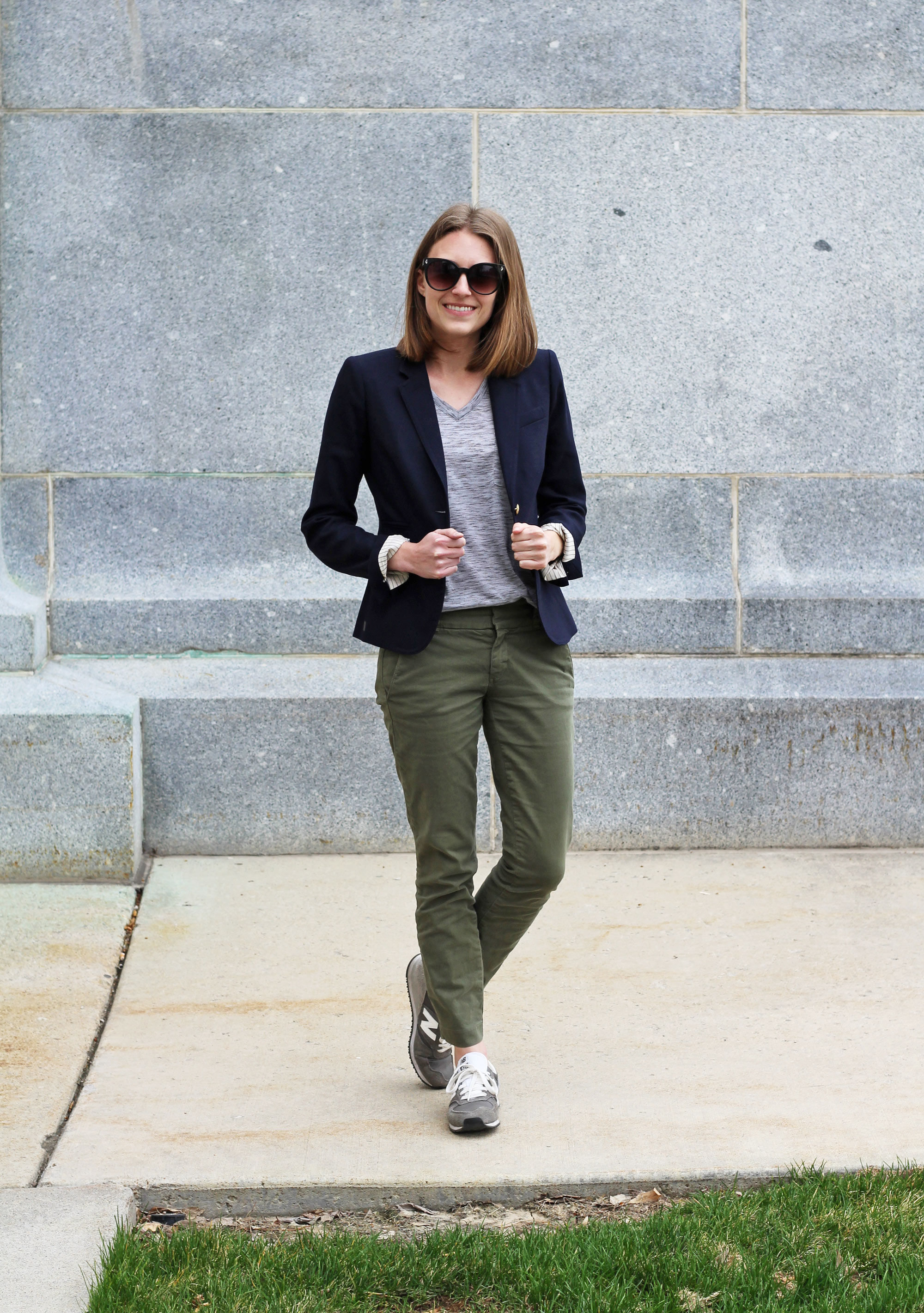 Navy blazer, grey tee, green chinos, New Balance sneakers — Cotton Cashmere Cat Hair