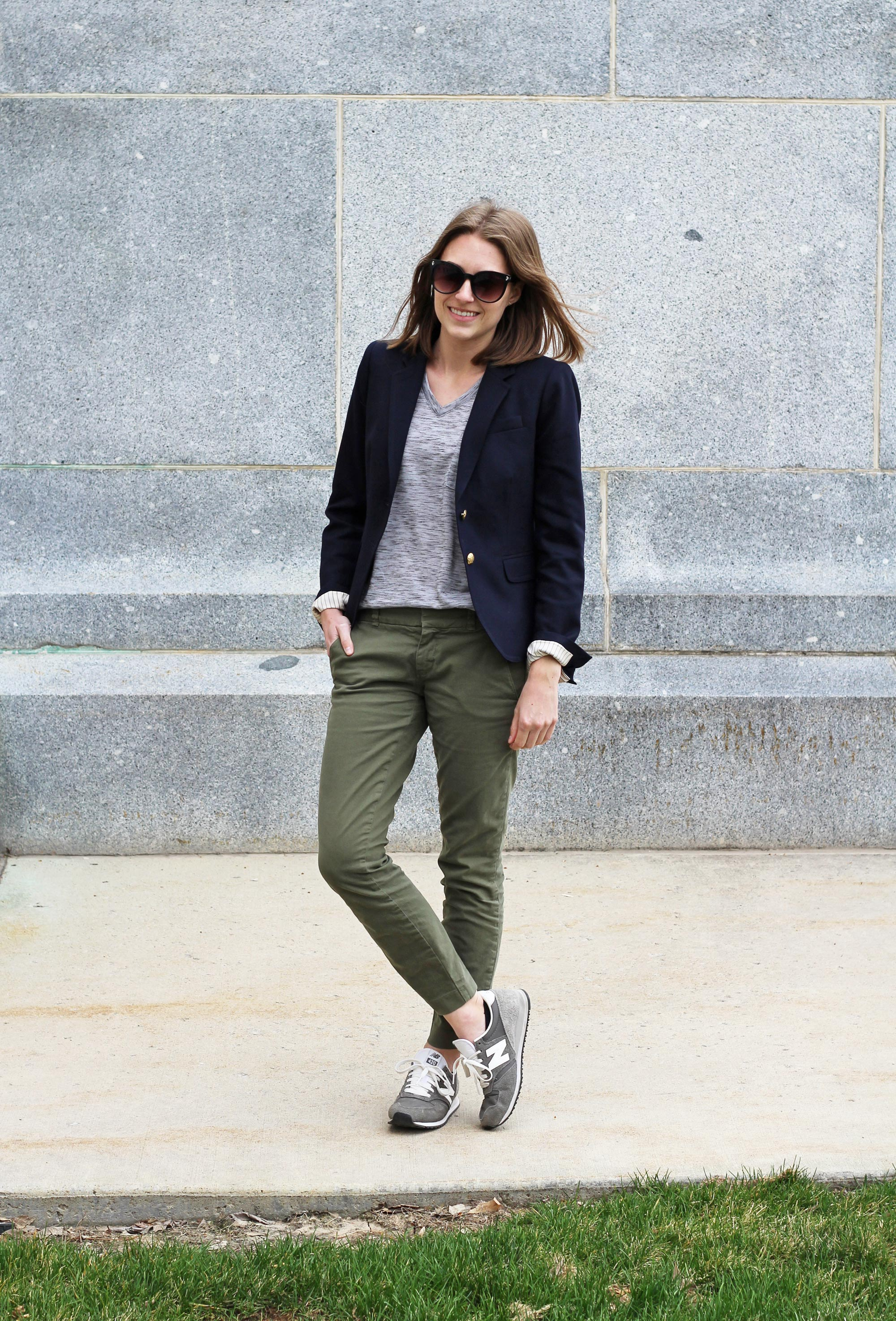 Navy blazer over grey tee, olive green chinos, grey New Balance sneakers — Cotton Cashmere Cat Hair