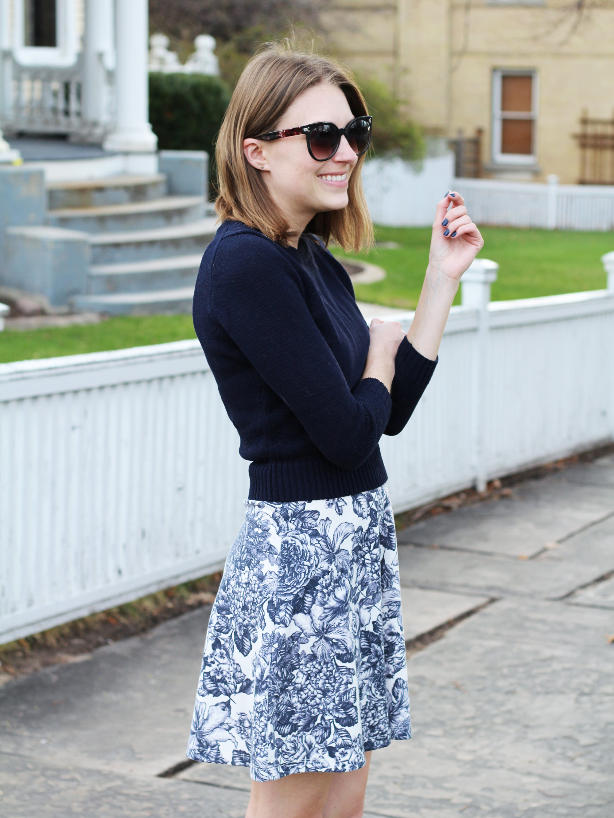 Navy cropped sweater + navy floral dress + simple stud earrings — Cotton Cashmere Cat Hair
