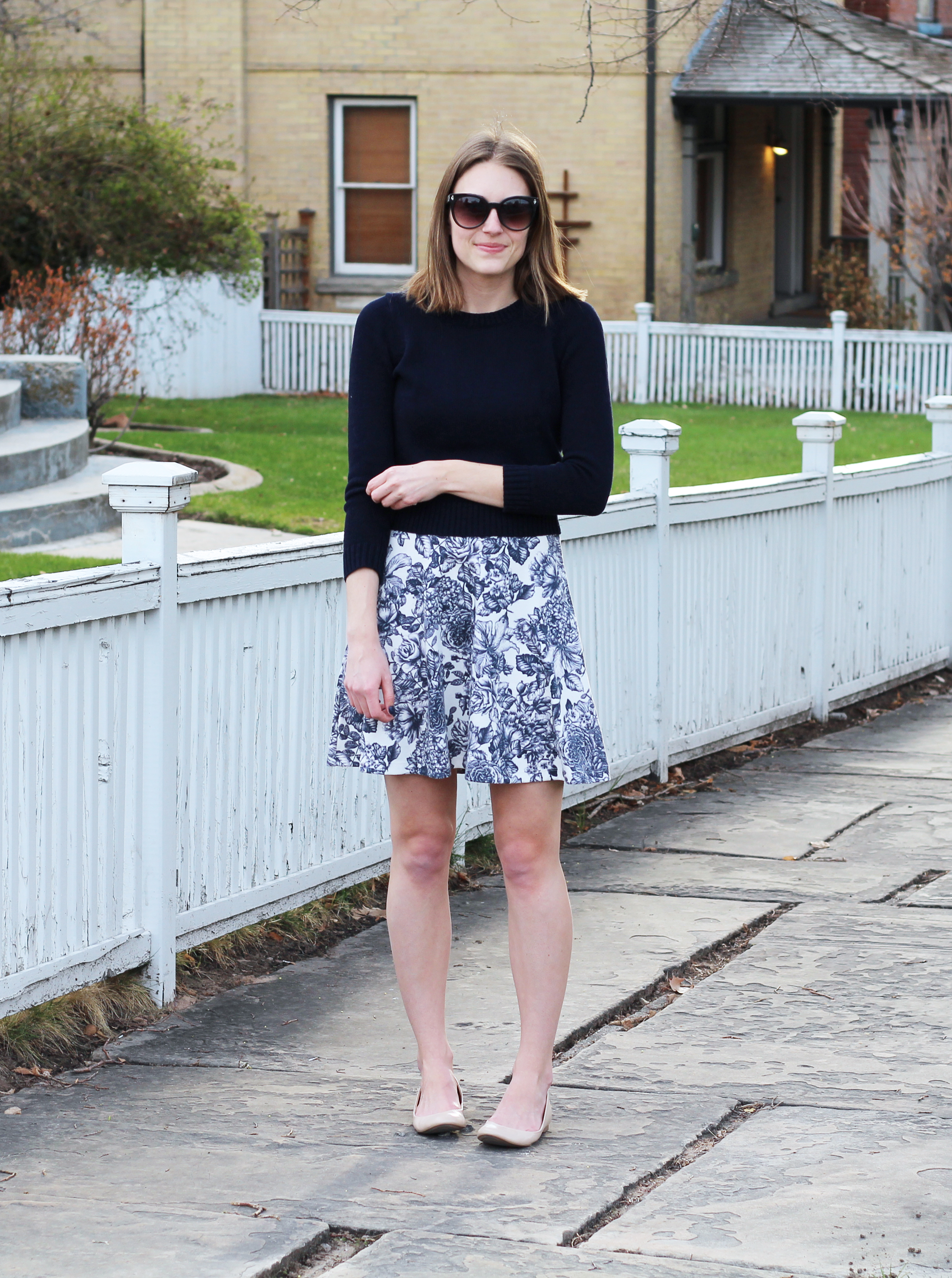Navy cropped sweater over navy floral dress + neutral J.Crew 'Cece' ballet flats — Cotton Cashmere Cat Hair