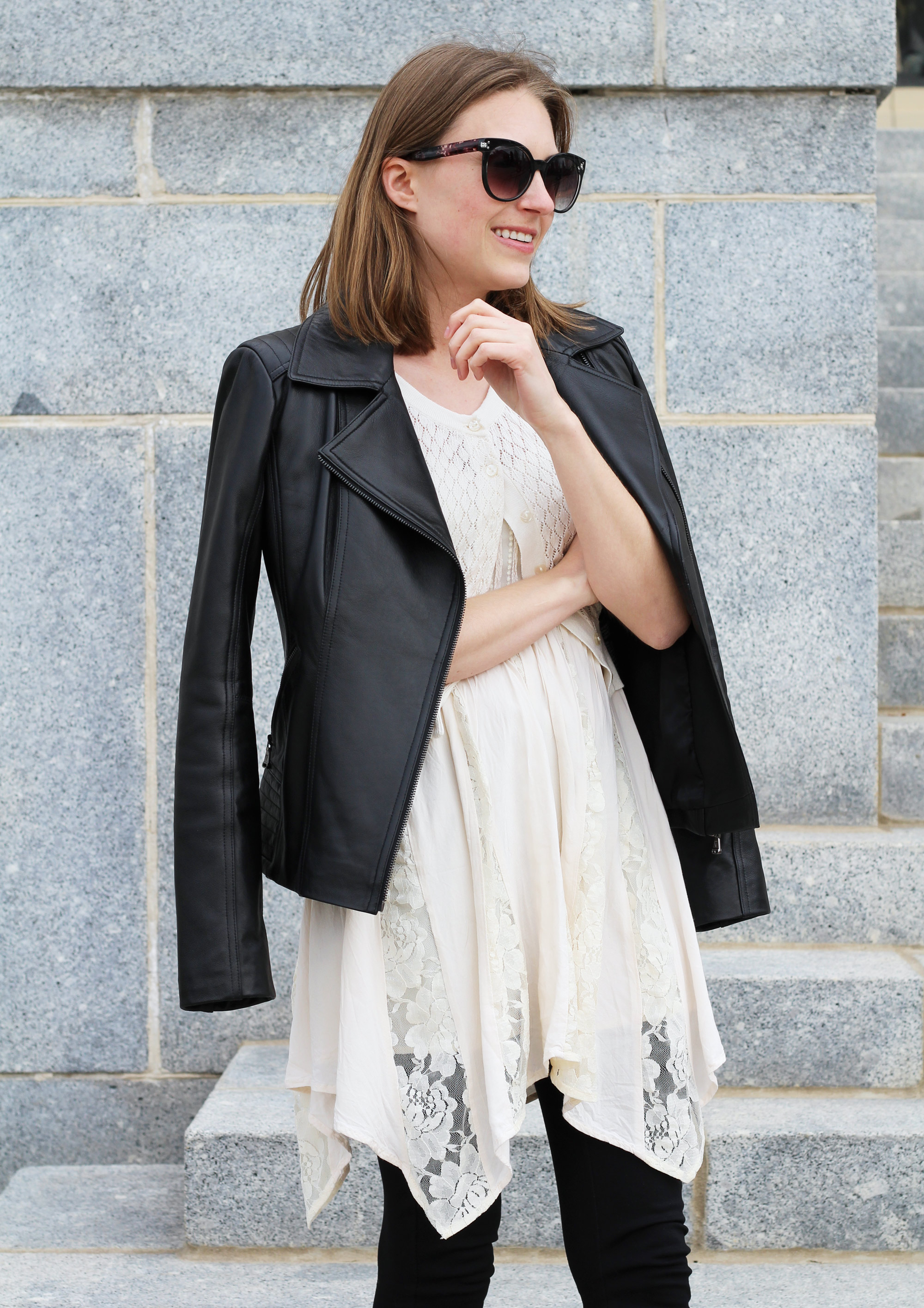 Spring outfit: Leather jacket layered over lace dress — Cotton Cashmere Cat Hair
