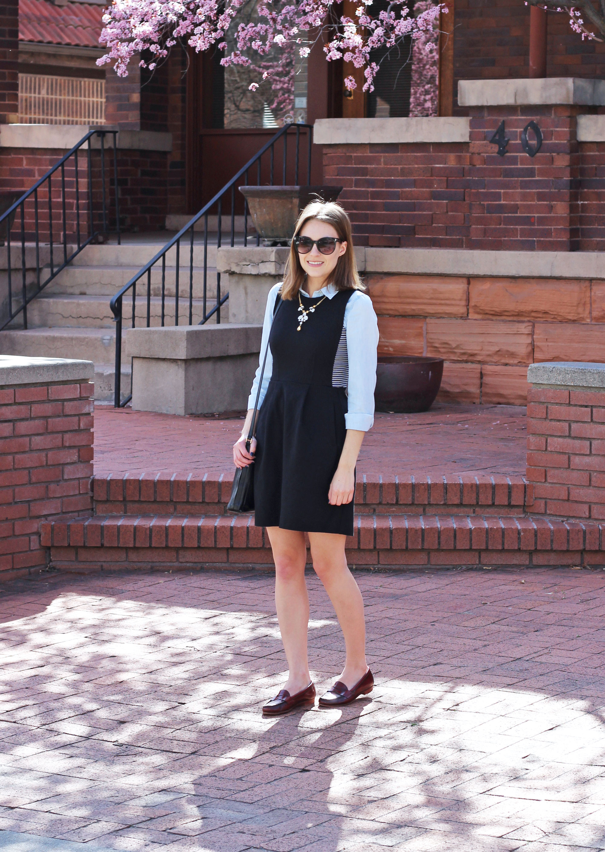 Black dress layered over chambray shirt, black bag, burgundy loafers — Cotton Cashmere Cat Hair
