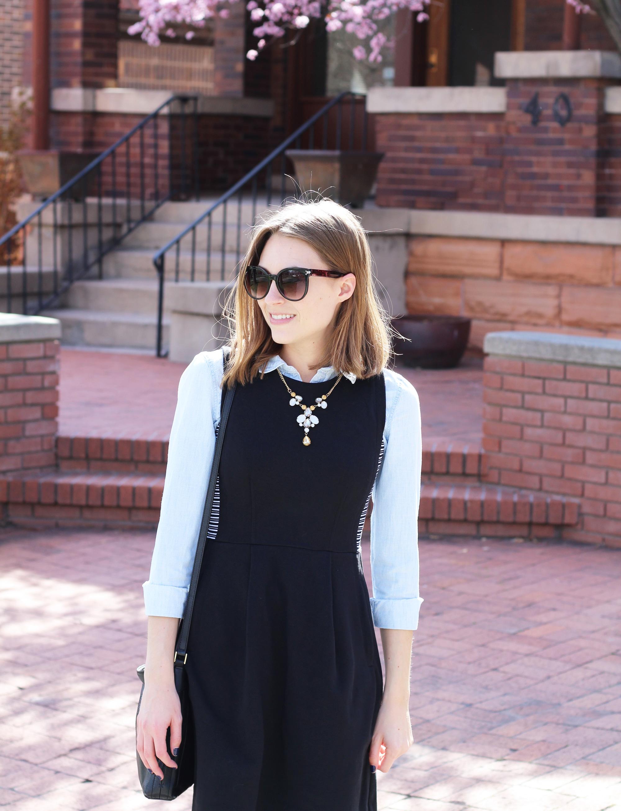 Black dress + chambray shirt + statement necklace — Cotton Cashmere Cat Hair