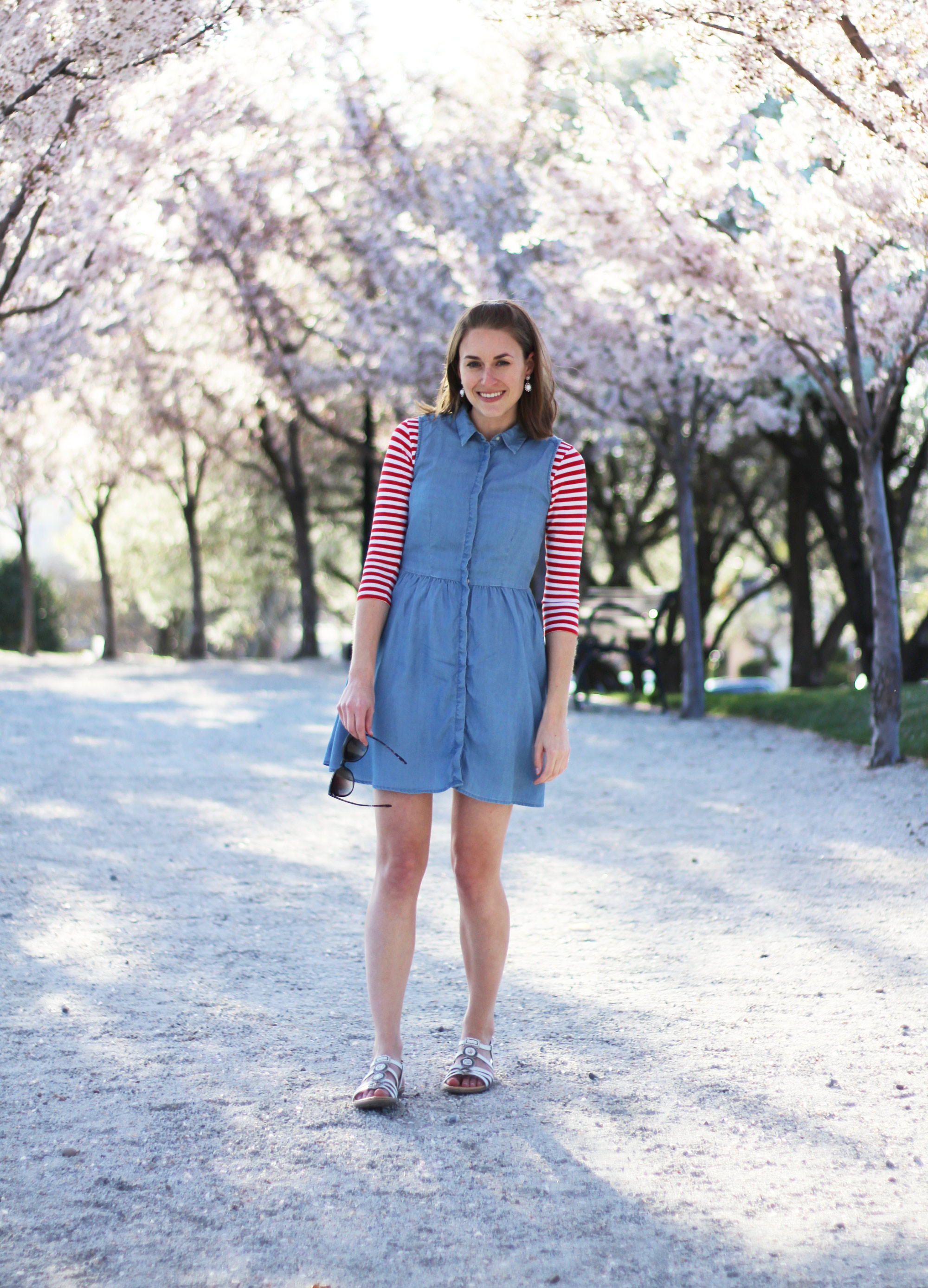 Chambray dress layered over red white striped tee, white Earth 'Seaside' sandals — Cotton Cashmere Cat Hair