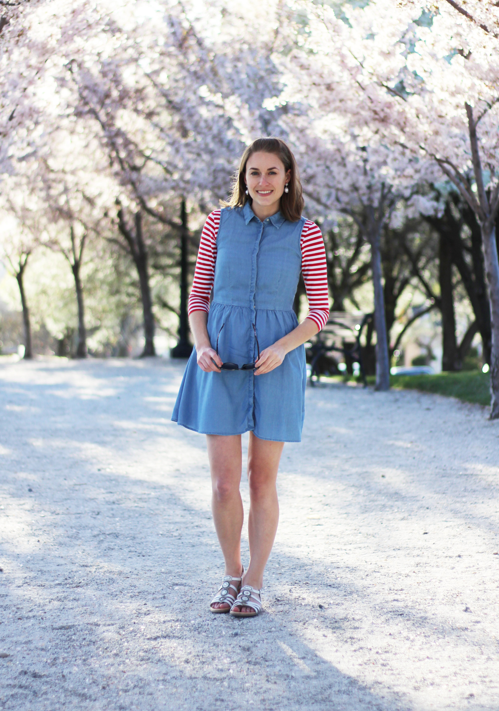 Red white striped tee layered under chambray dress, white Earth 'Seaside' sandals — Cotton Cashmere Cat Hair