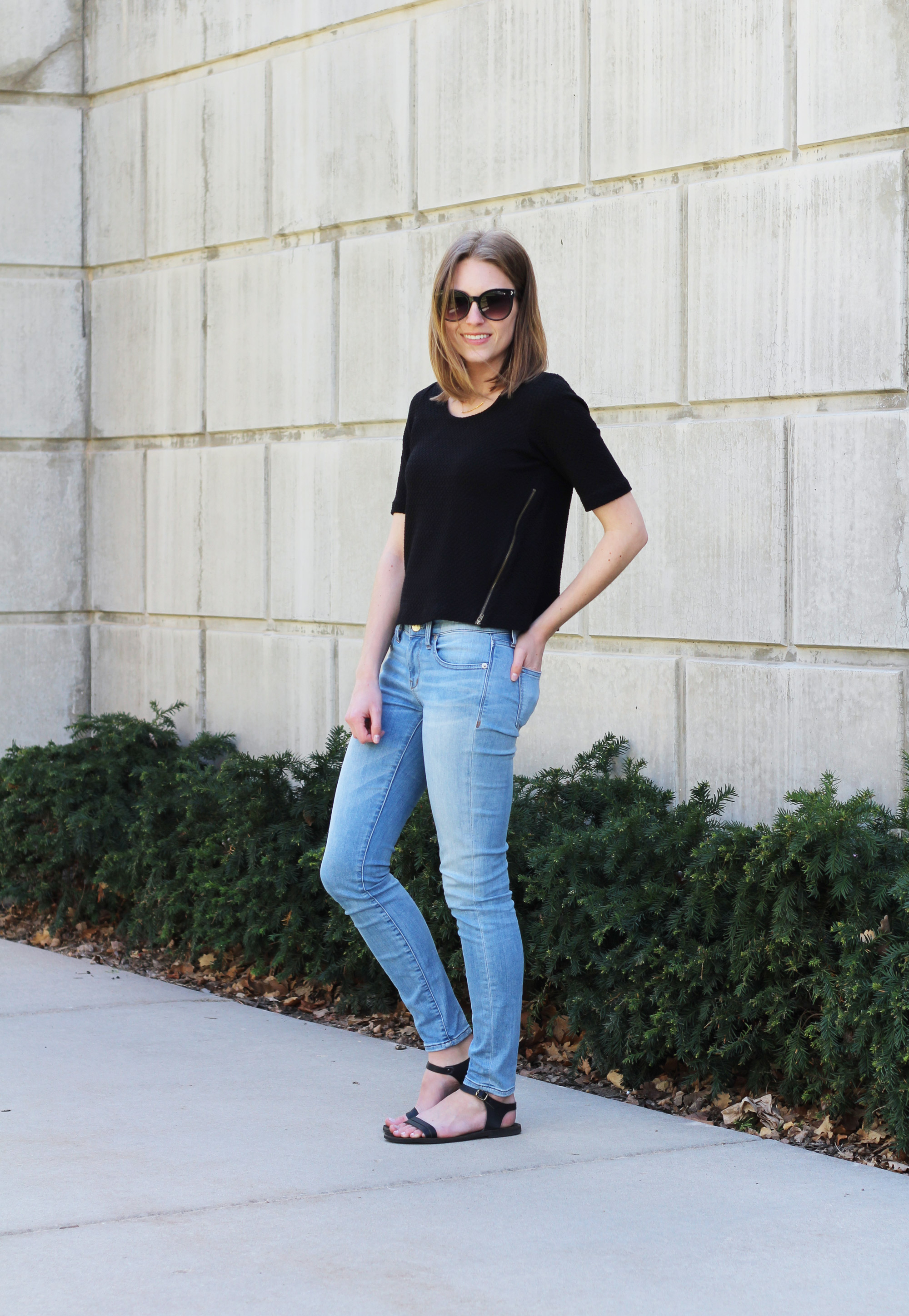 Black Anthropologie top, light wash Madewell skinny jeans, black sandals — Cotton Cashmere Cat Hair