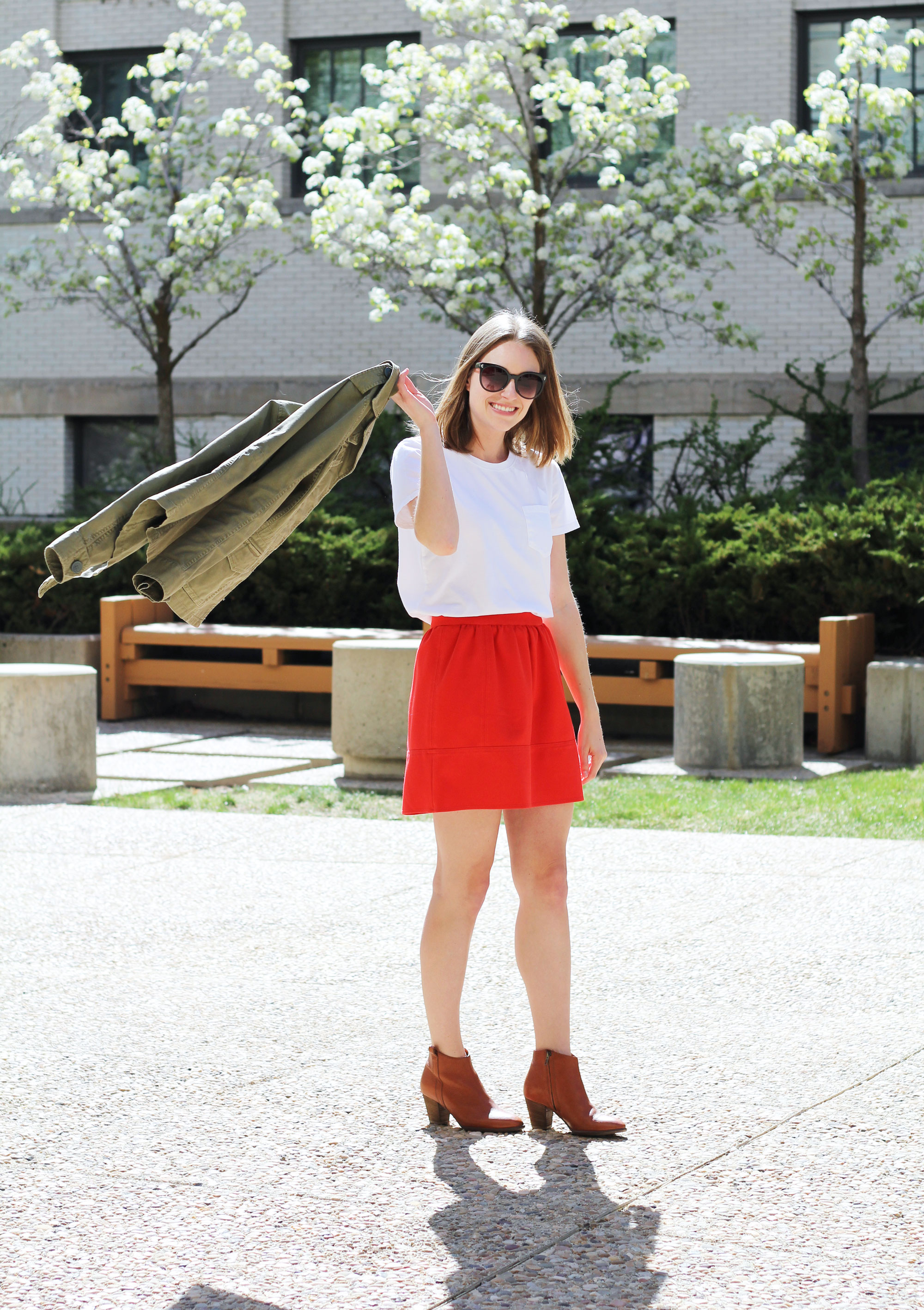 Madewell 'Outbound' jacket, white Everlane box tee, red mini skirt, Madewell 'Billie' boots — Cotton Cashmere Cat Hair