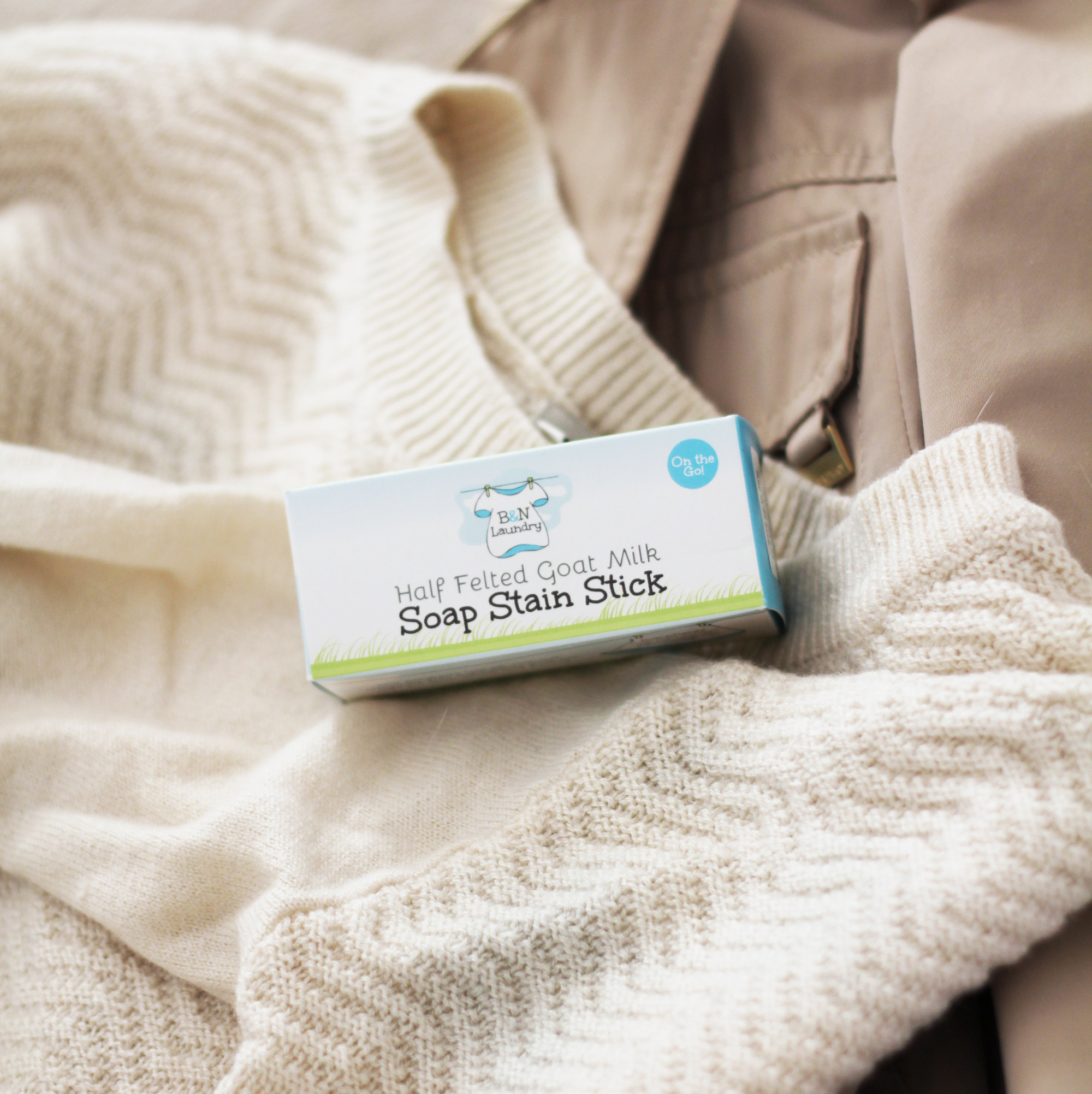 B&N Laundry Half Felted Goat Milk Soap Stain Stick — via Cotton Cashmere Cat Hair