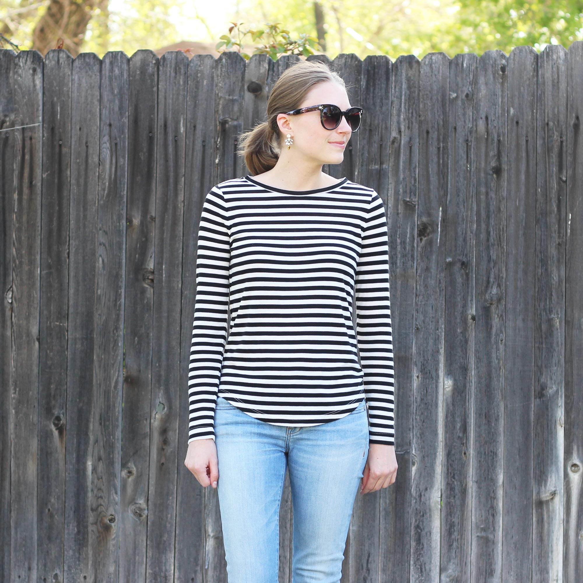 Statement earrings + striped tee + light wash denim — Cotton Cashmere Cat Hair