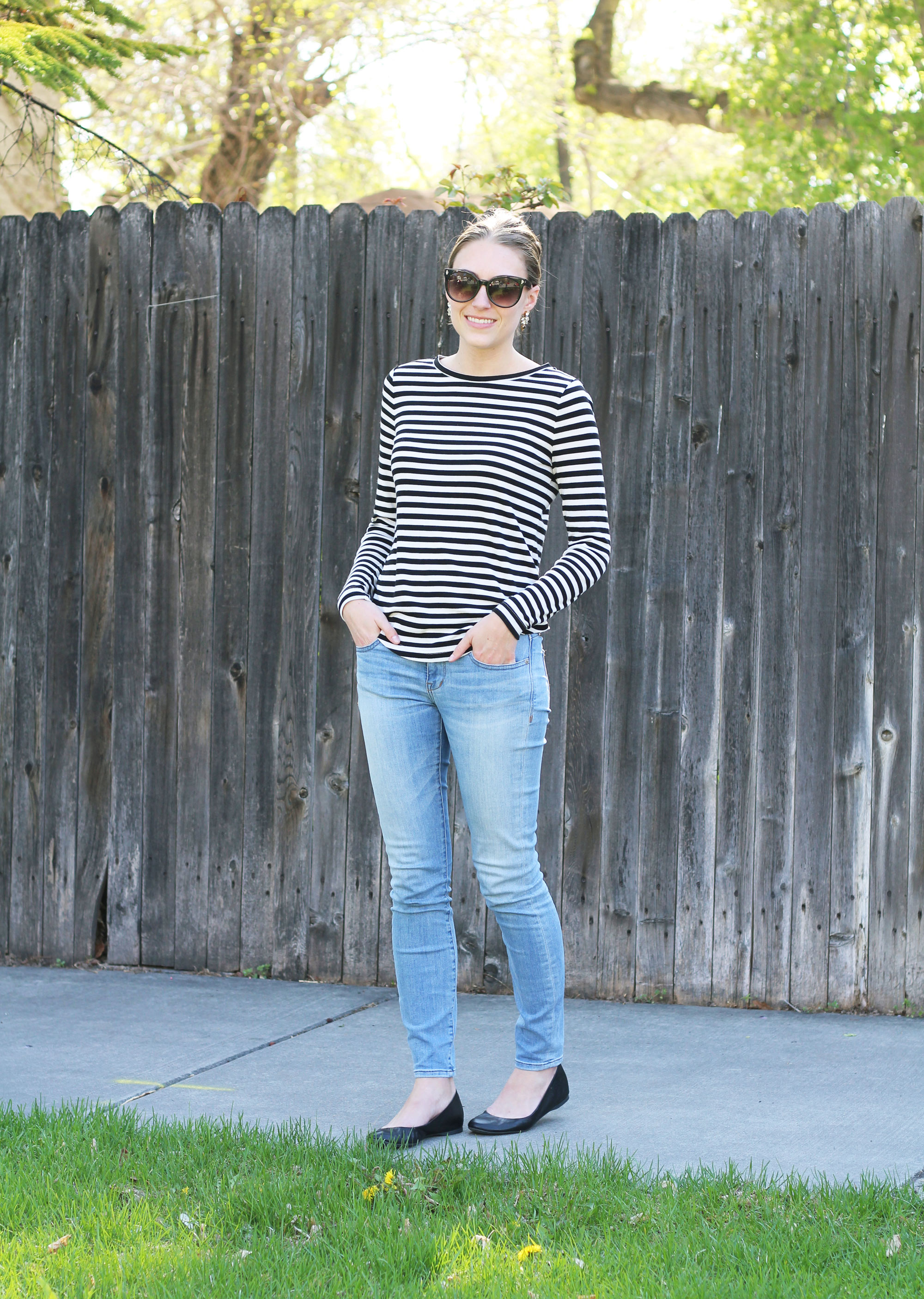 Black and white striped tee, light wash skinny jeans, black ballet flats — Cotton Cashmere Cat Hair