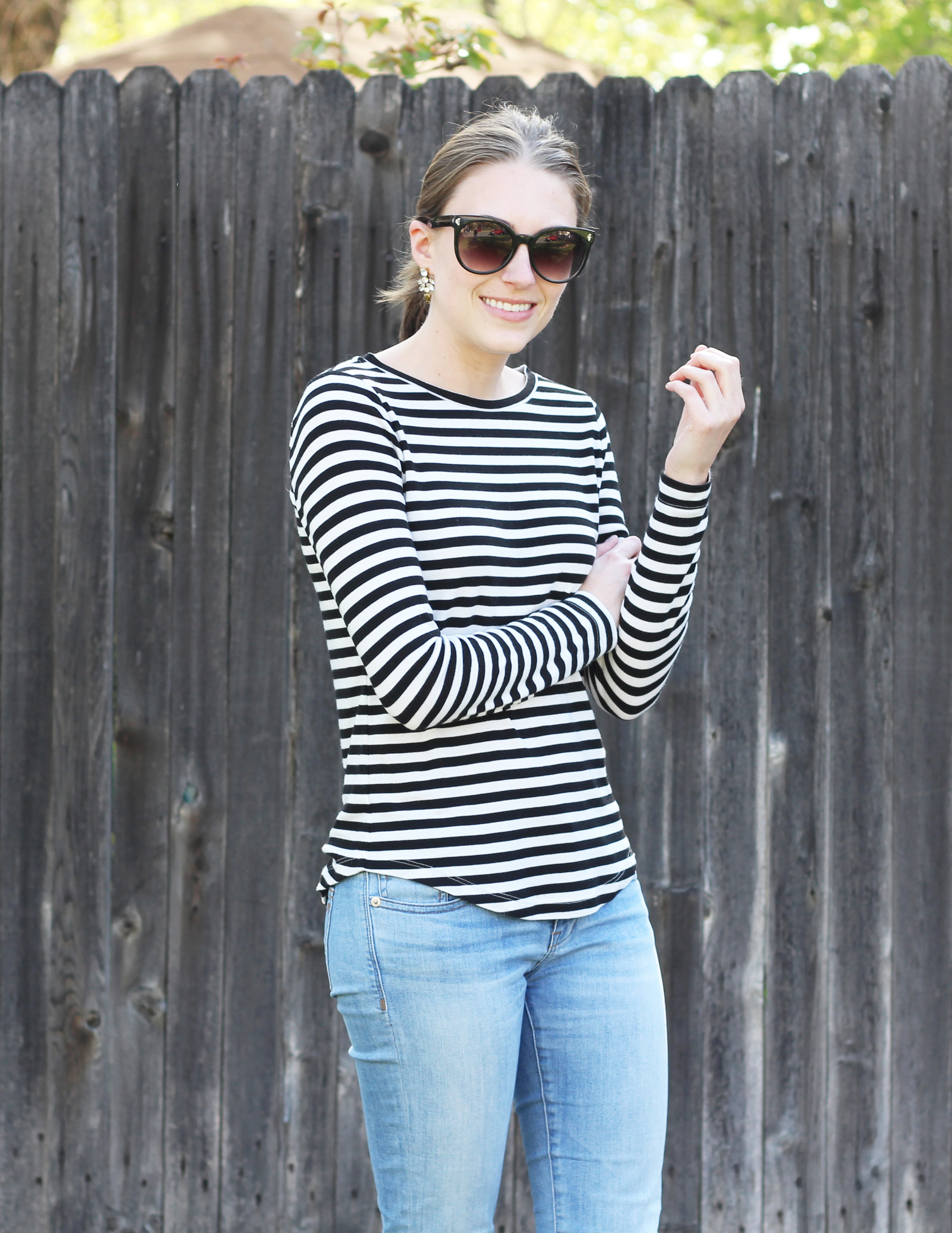 Black and white striped tee + light wash denim + statement earrings — Cotton Cashmere Cat Hair