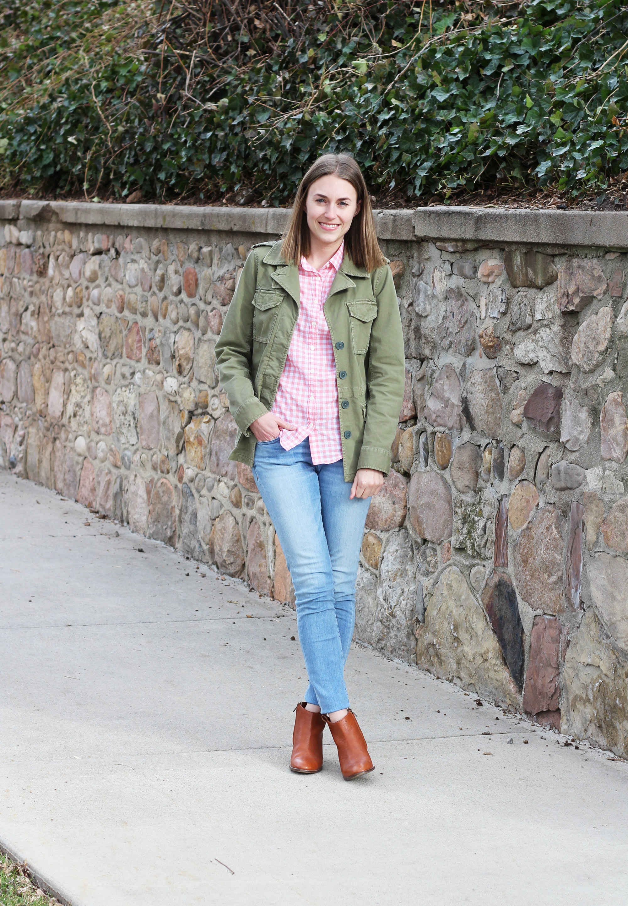 Army green + pink gingham