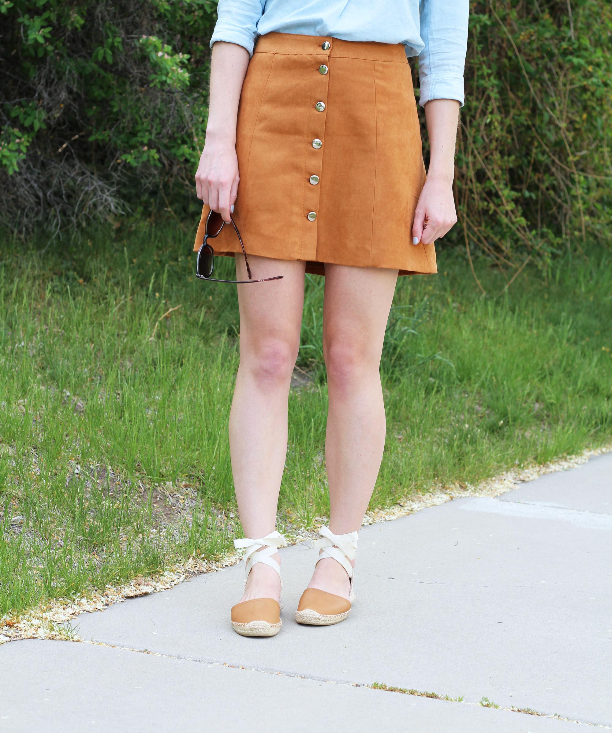 Tan button-front skirt + Soludos leather lace-up espadrilles — Cotton Cashmere Cat Hair