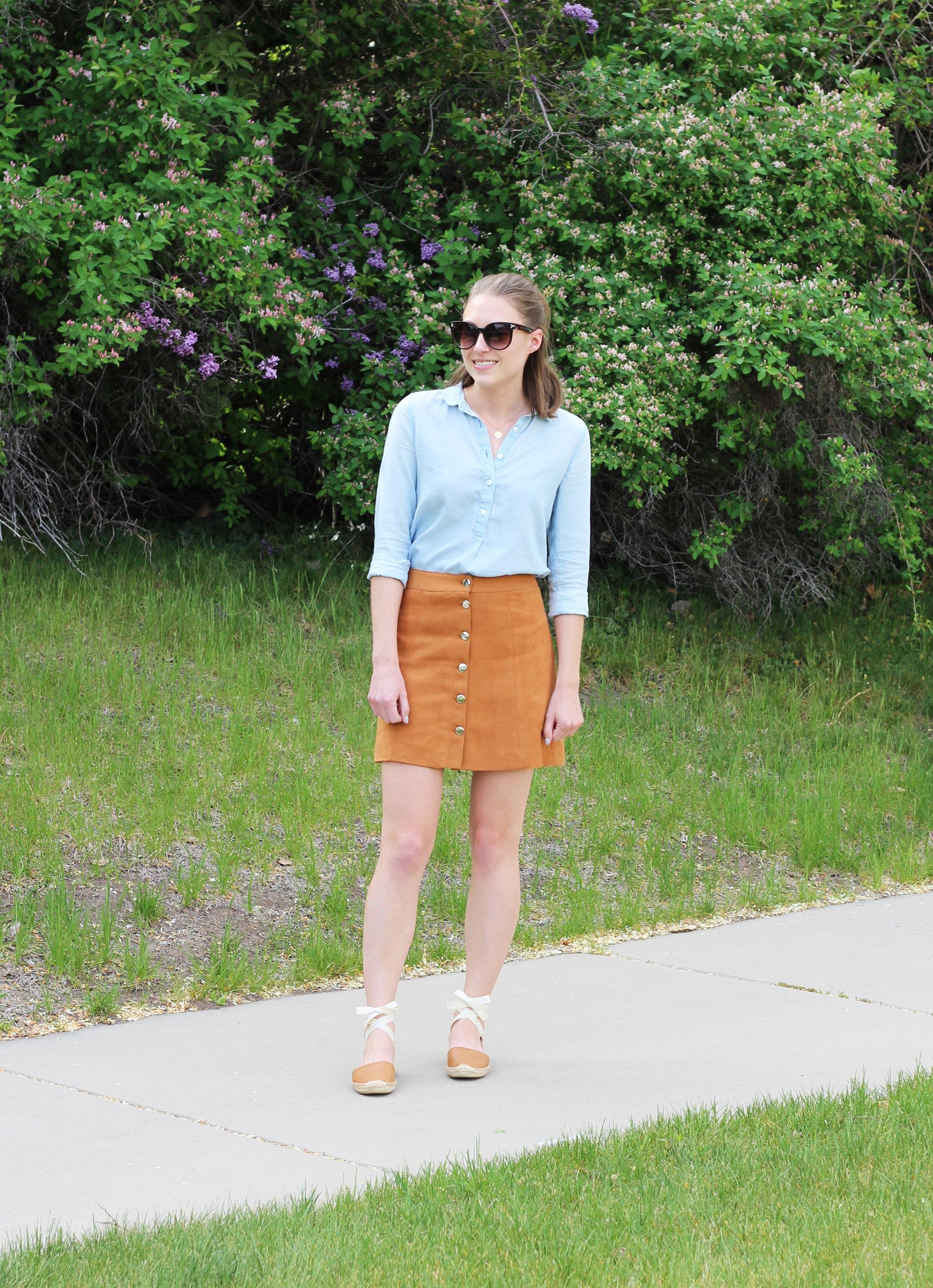 Light blue shirt, tan button-front skirt, tan Soludos lace-up espadrilles — Cotton Cashmere Cat Hair