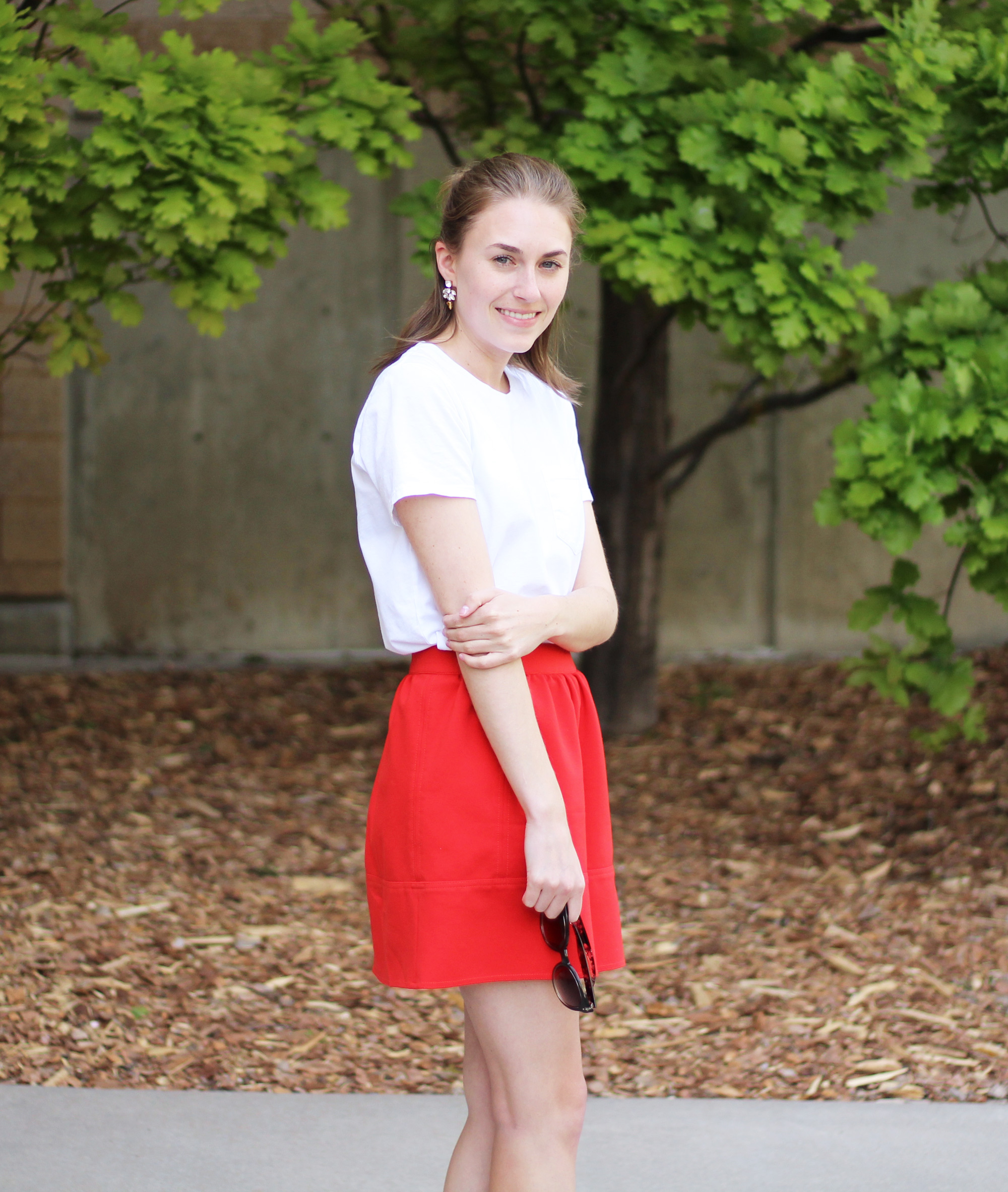 White tee + red skirt outfit — Cotton Cashmere Cat Hair