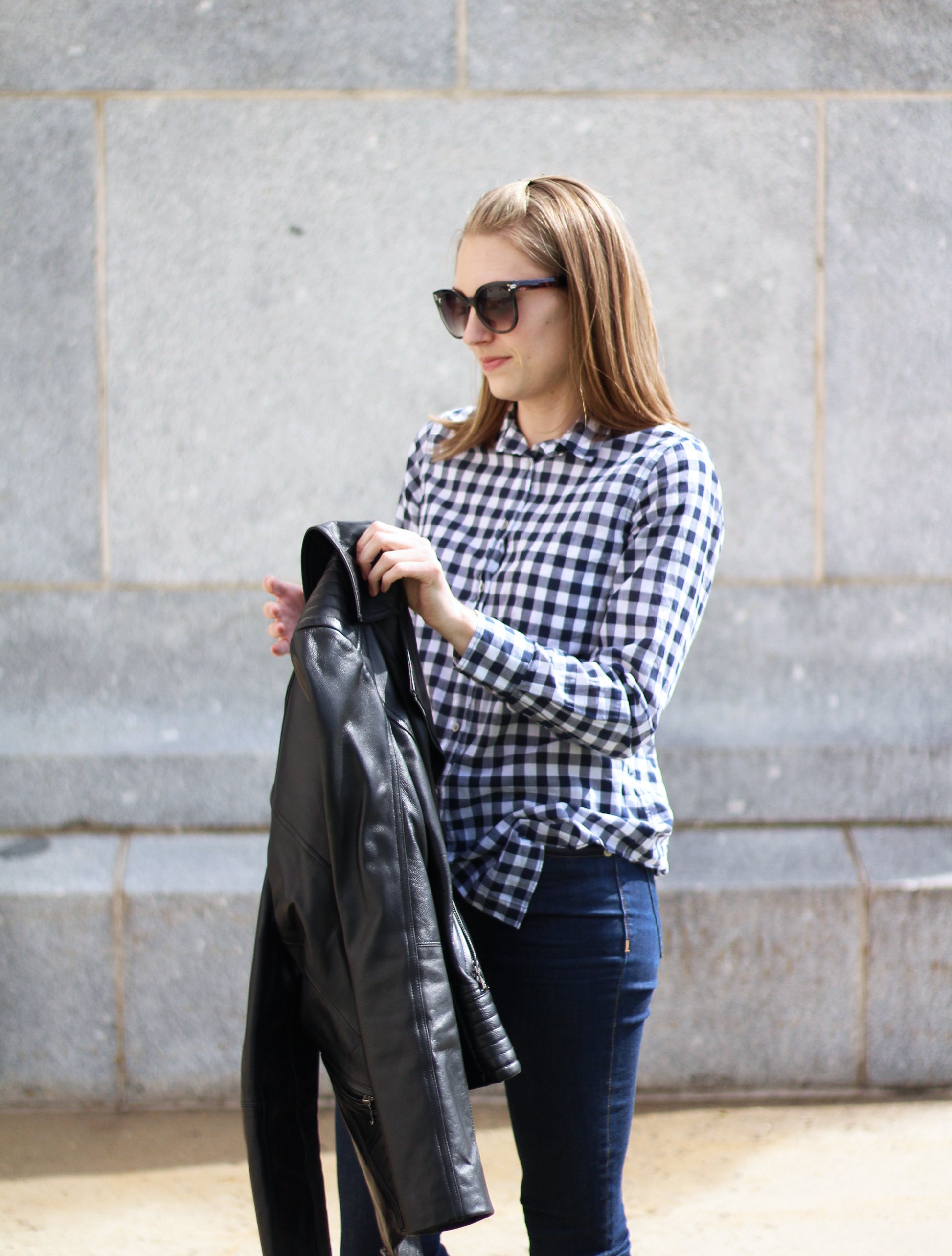 Navy gingham shirt outfit — Cotton Cashmere Cat Hair