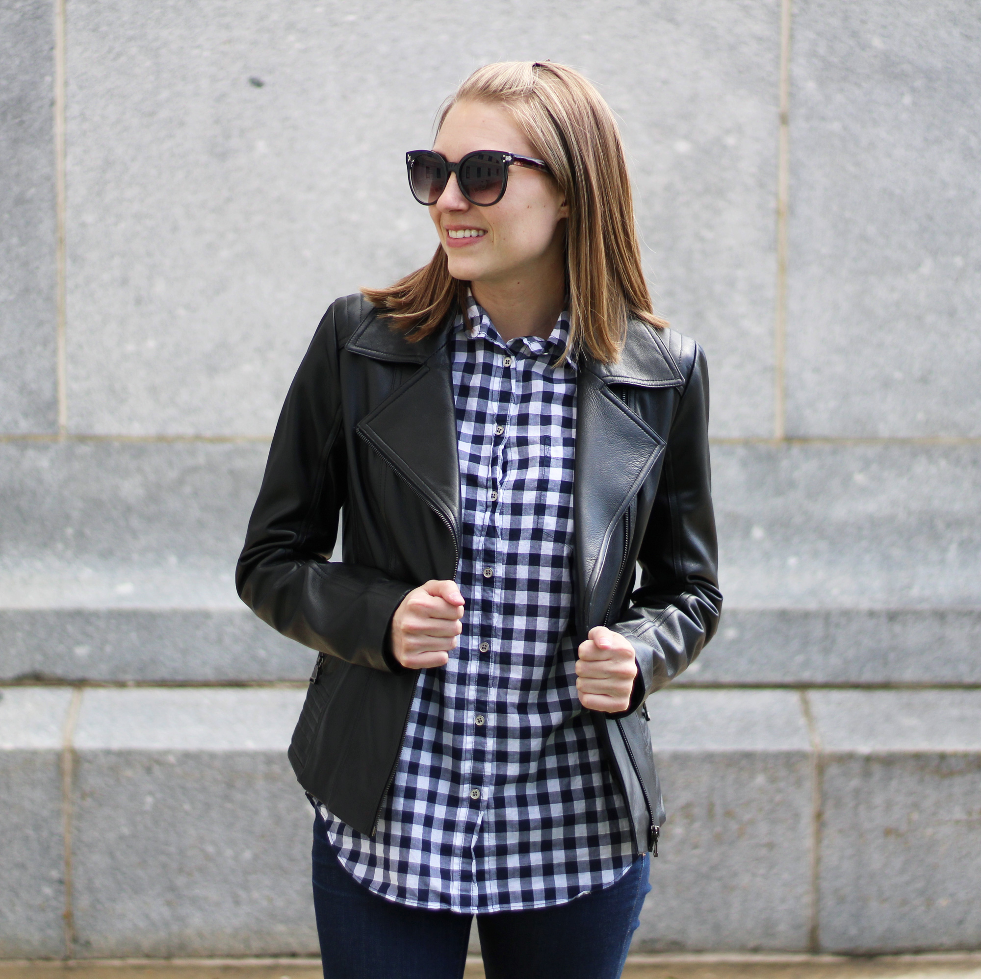 Leather jacket + navy gingham shirt — Cotton Cashmere Cat Hair