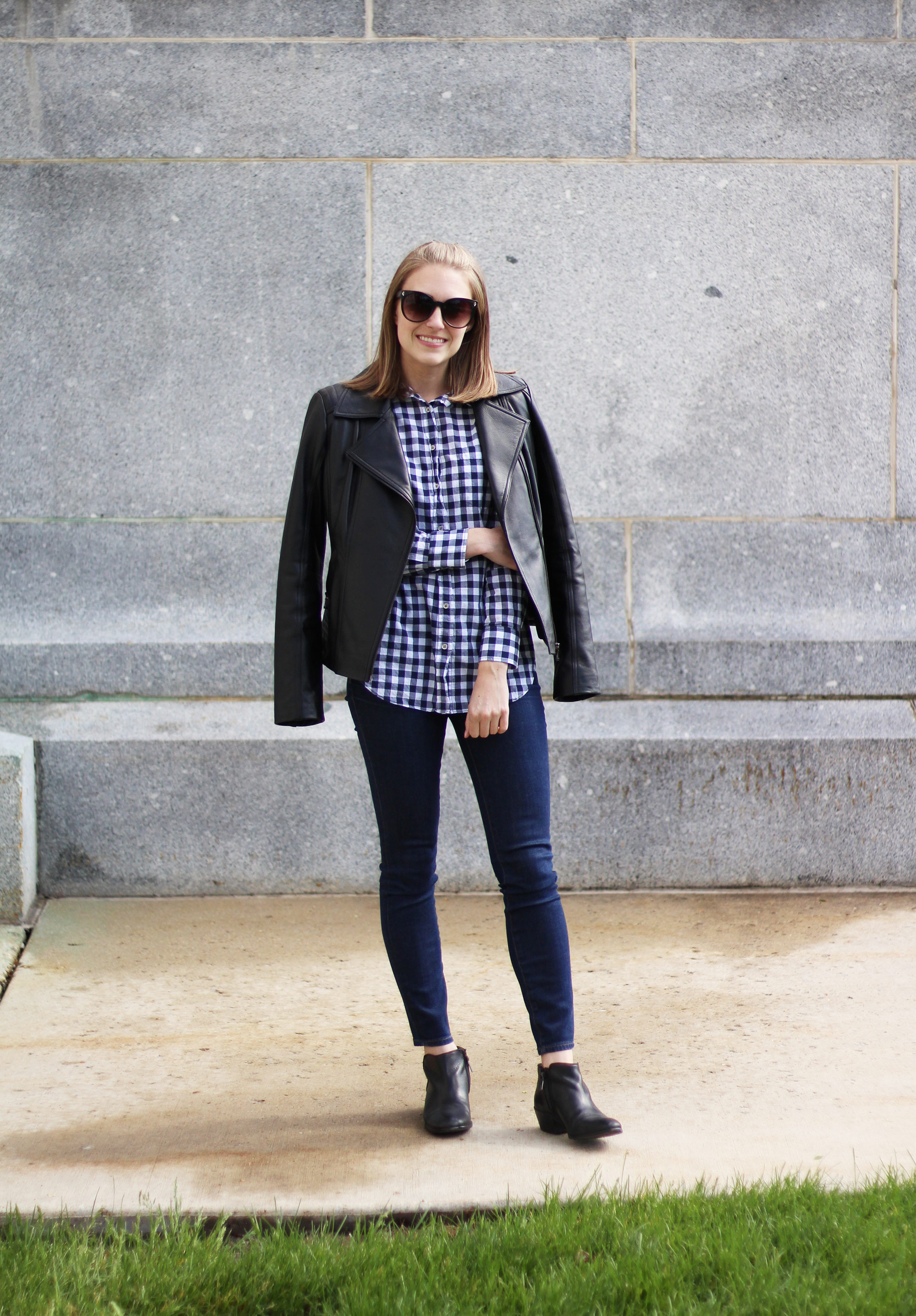 Leather jacket, navy gingham shirt, skinny jeans, black ankle boots — Cotton Cashmere Cat Hair