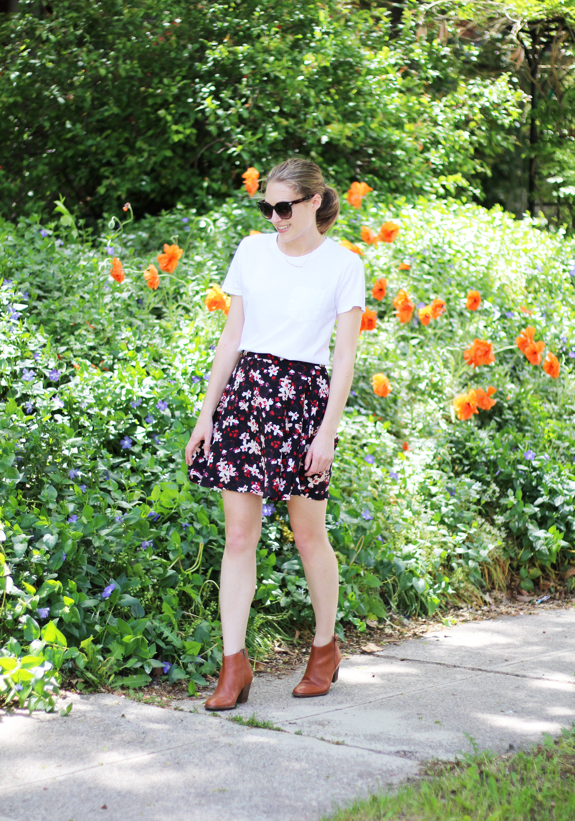 Everlane white tee, dark floral skirt, Madewell ankle boots, Gorjana necklace — Cotton Cashmere Cat Hair