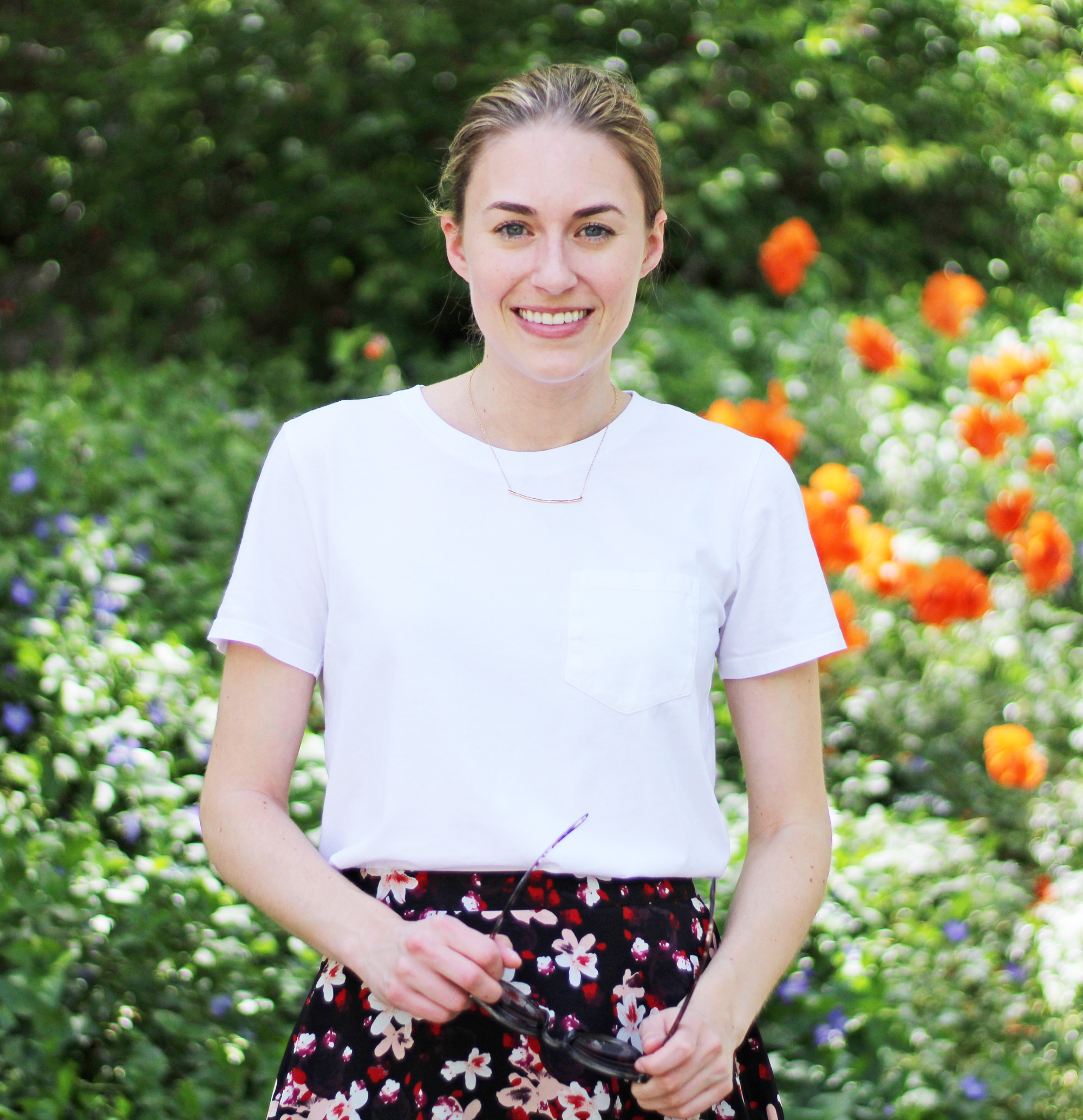 Spring outfit: Gorjana necklace, Everlane white tee, dark floral skirt — Cotton Cashmere Cat Hair
