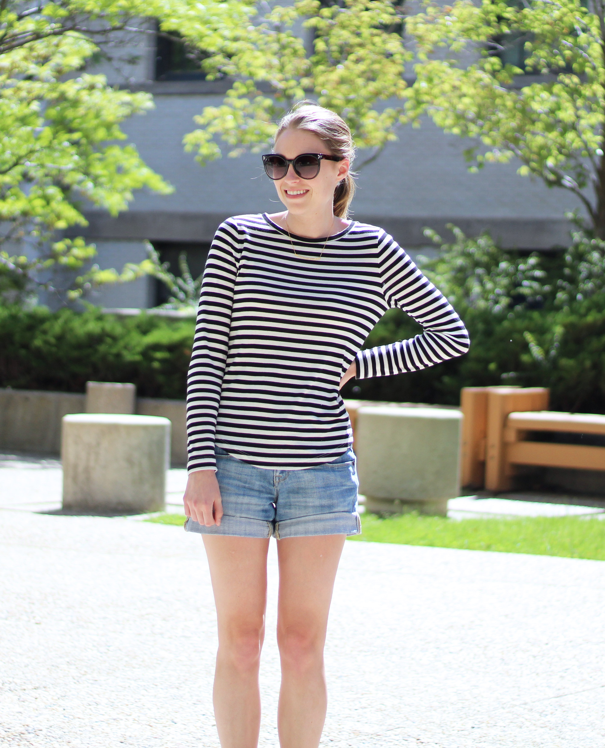 Striped tee outfit with denim shorts and gold Gorjana necklace — Cotton Cashmere Cat Hair