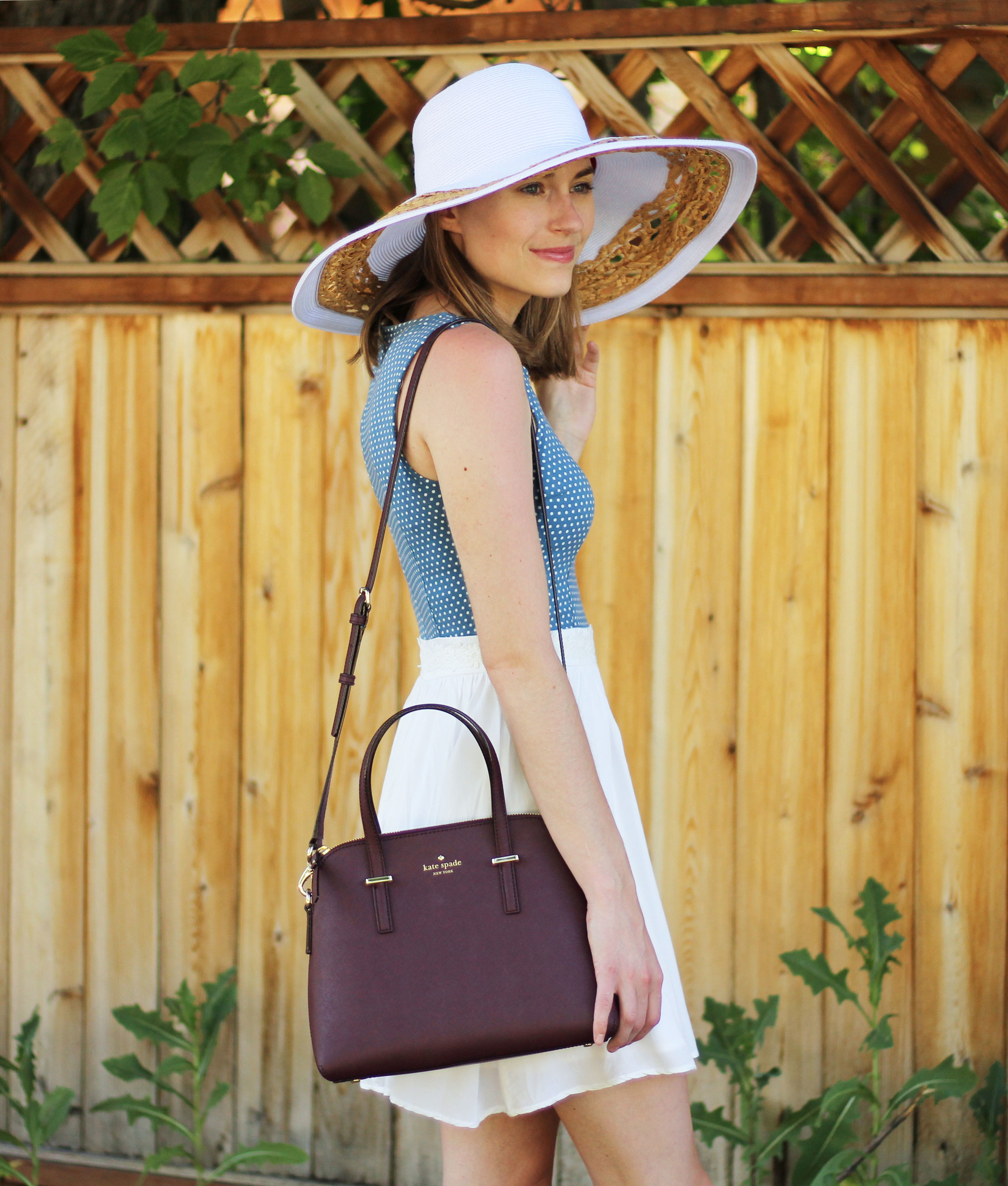 Polka dot sundress + white sun hat + burgundy bag — Cotton Cashmere Cat Hair