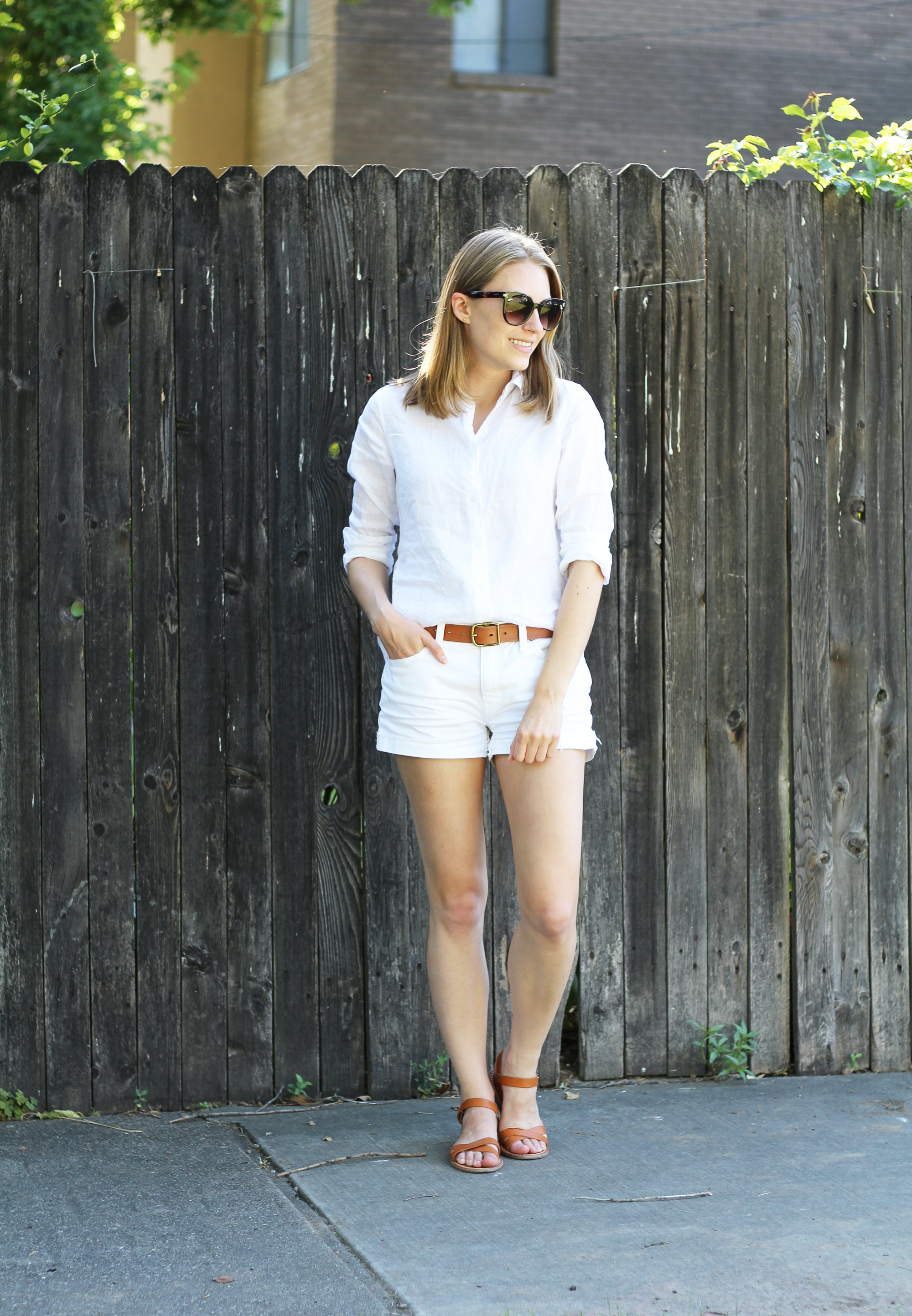 White linen shirt outfit with white shorts and cognac accessories — Cotton Cashmere Cat Hair